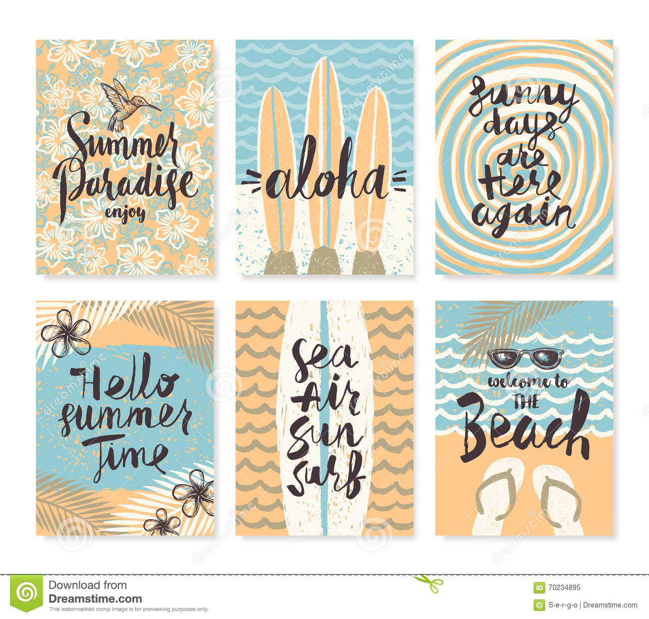 Set of summer holidays and tropical vacation posters or