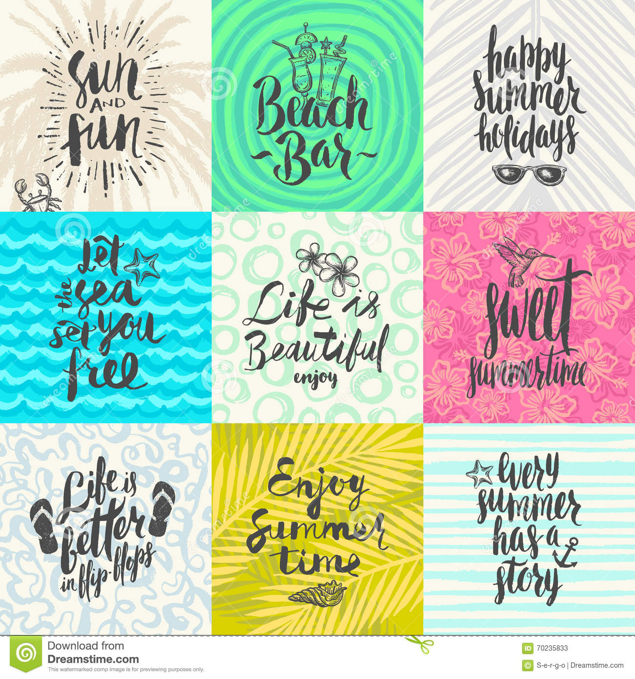 Set of summer holidays and tropical vacation posters or greeting set of summer holidays and tropical vacation hand drawn posters or greeting card with handwritten calligraphy quotes phrase and words m4hsunfo
