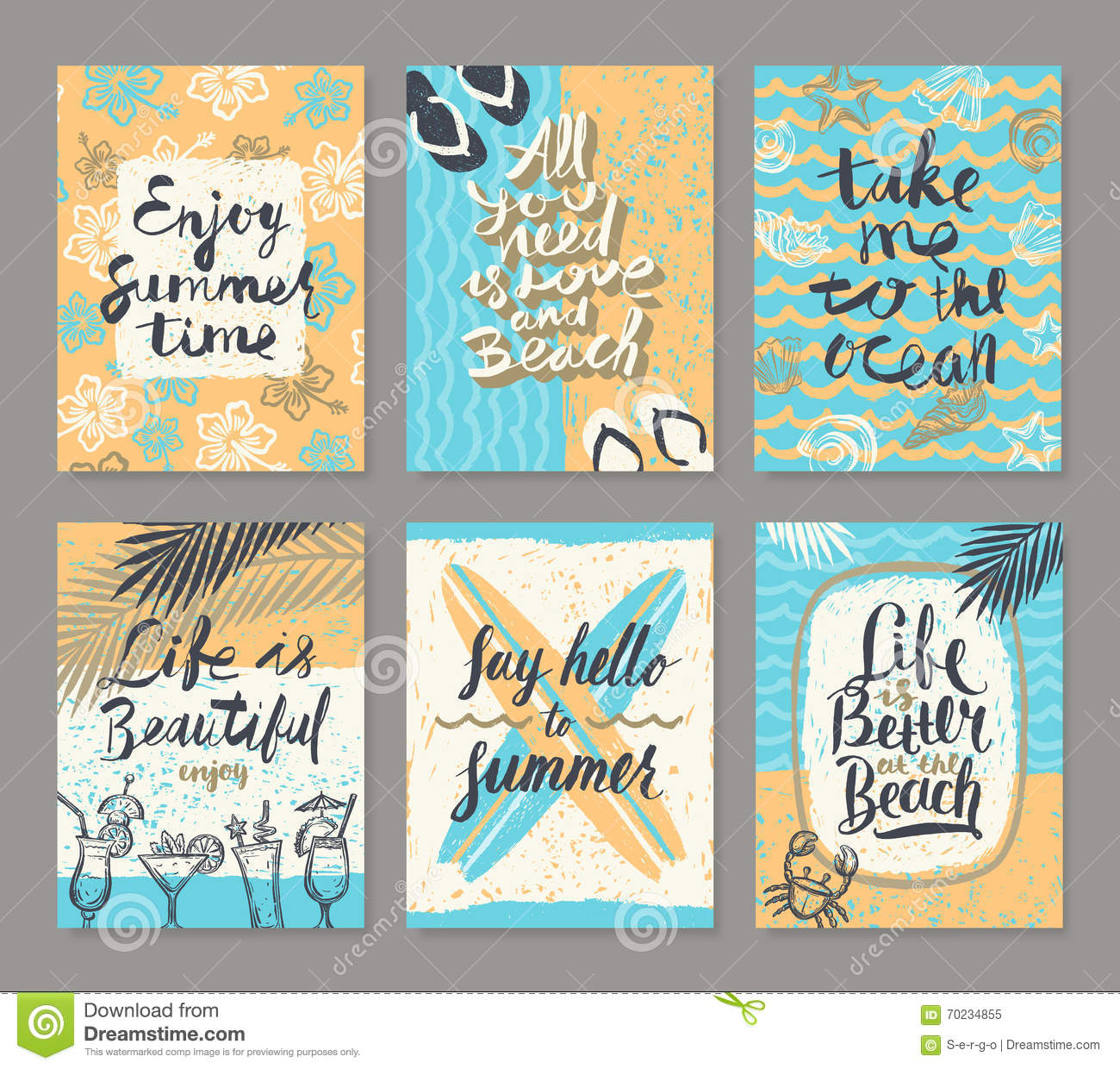 Set Of Summer Holidays And Tropical Vacation Posters Or Greeting Card Stock Vector Illustration Of Blue Journey 70234855