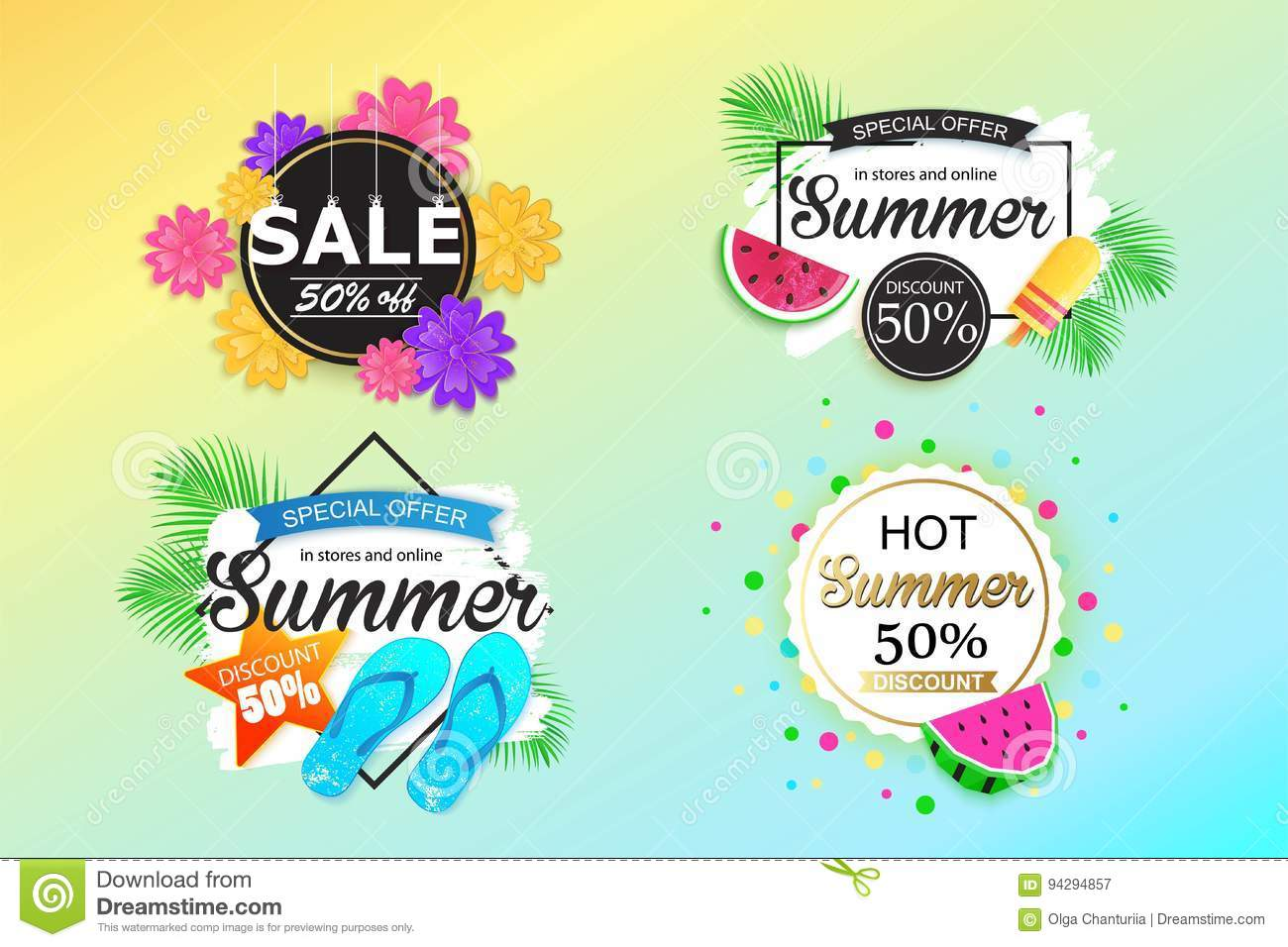 Set Of Summer Sale Background Banner Flyer Wallpaper