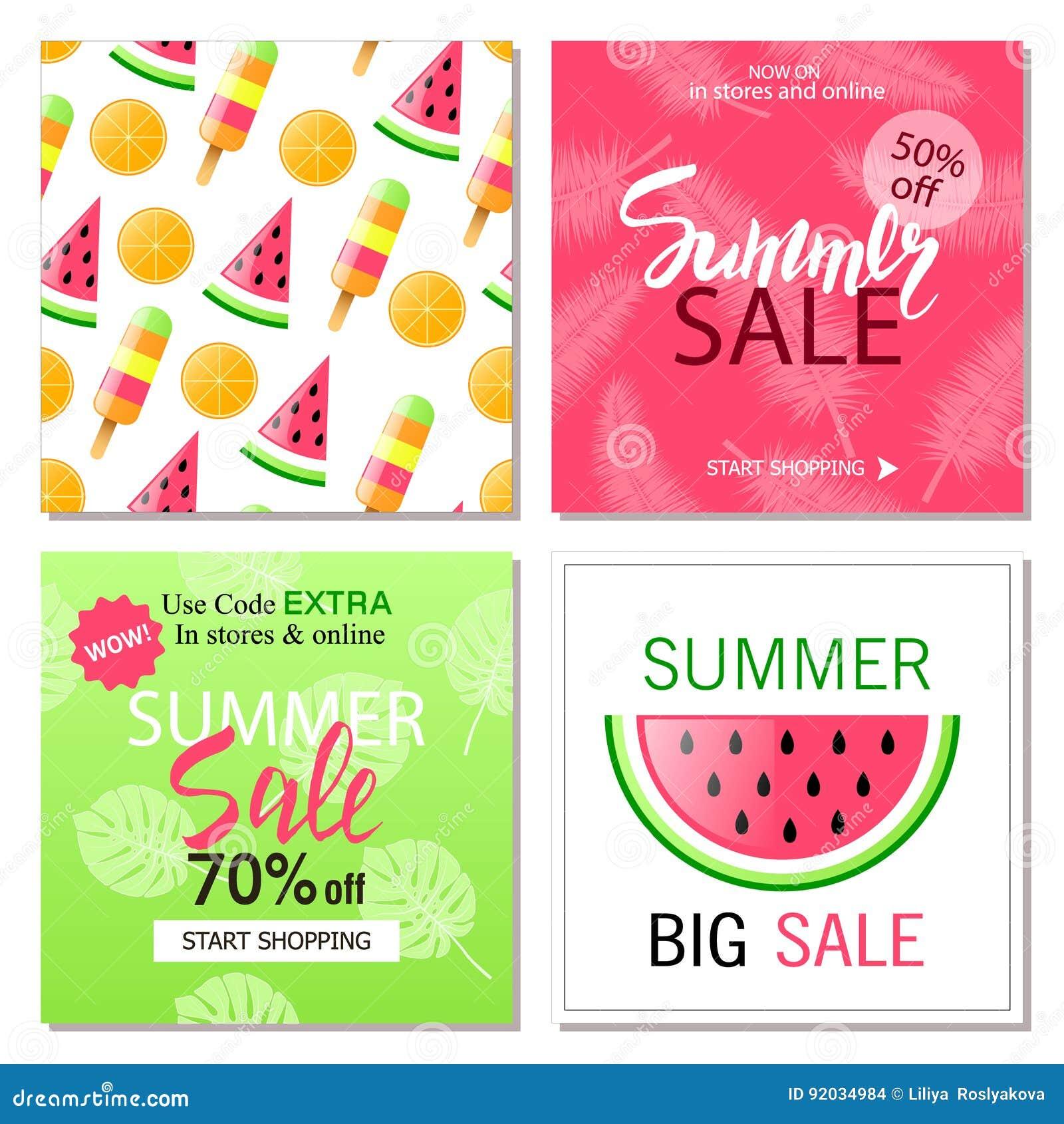 Set Of Summer Sale Banner Templates Wallpaperflyers Invitation Posters Brochure Voucher Discount Vector Illustration