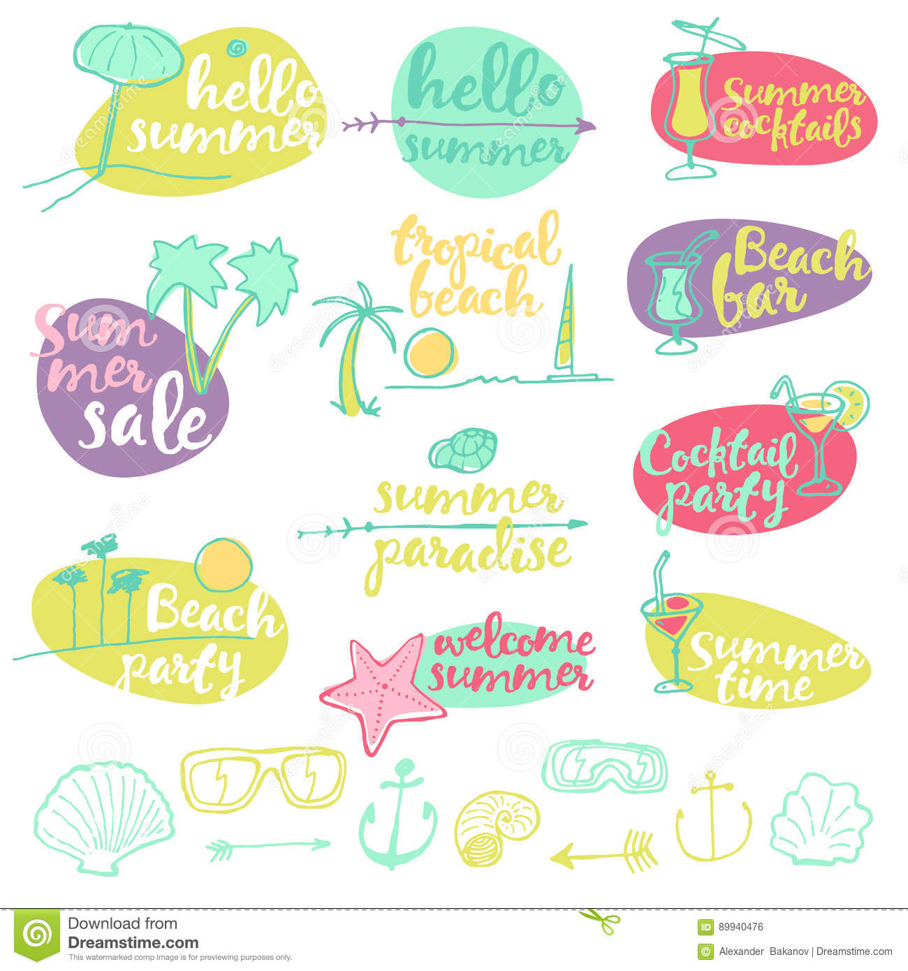 Set Summer Signs Banners Vector Party Stock Vector