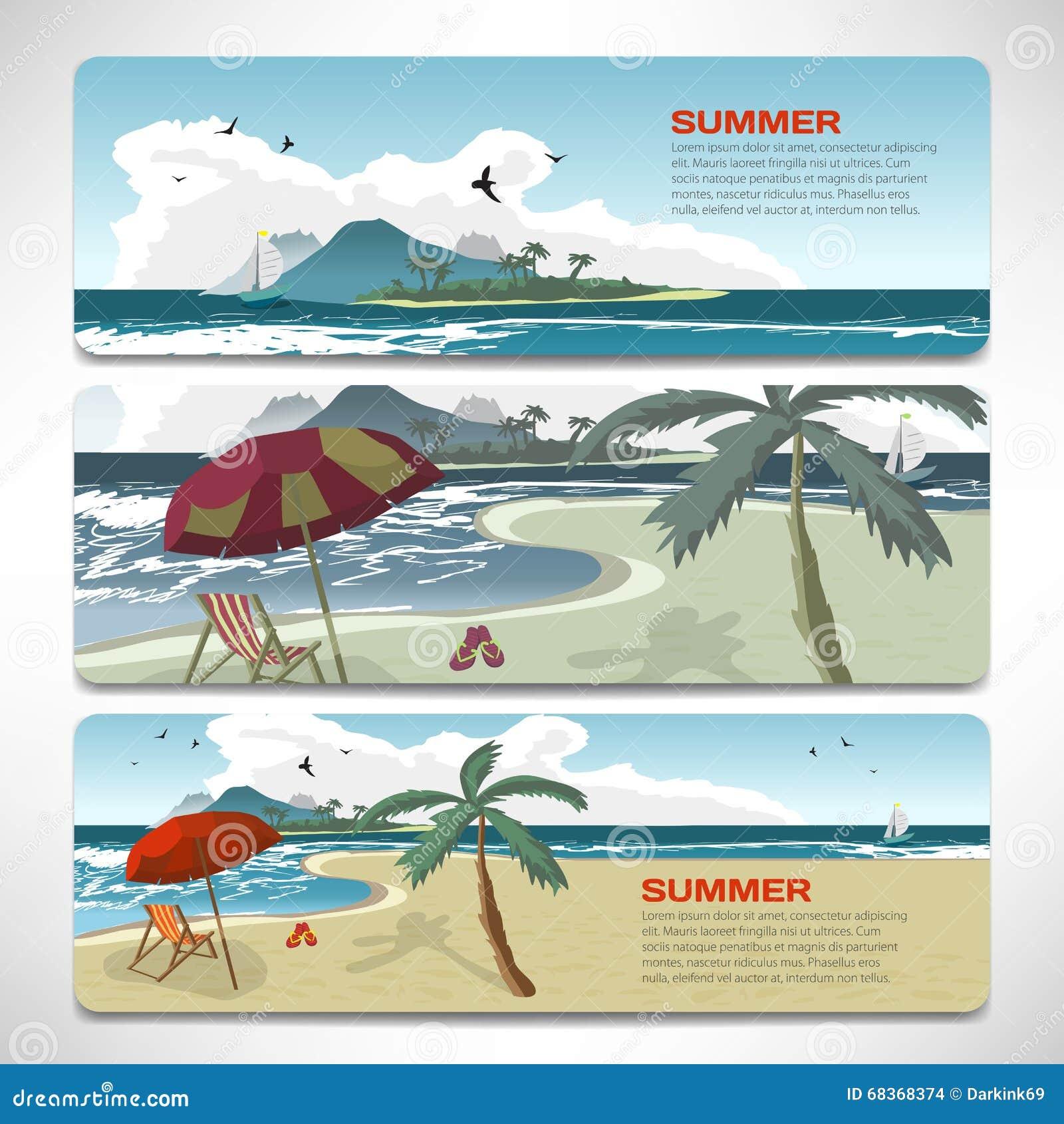 Beach Theme Card Stock: Set Of Summer Template Banners Gift Cards. Branding Design