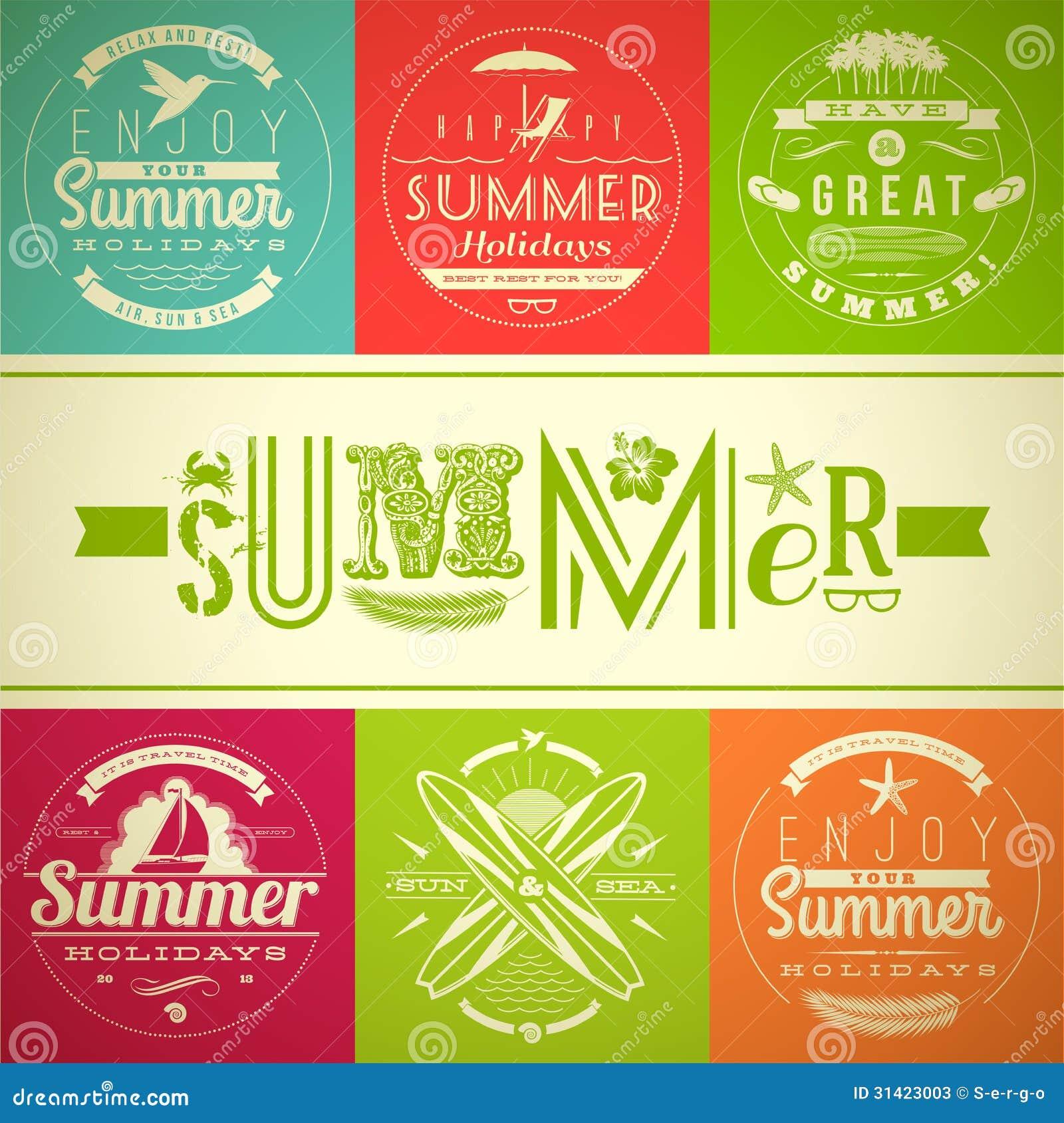 Set of summer vacation and holidays emblems