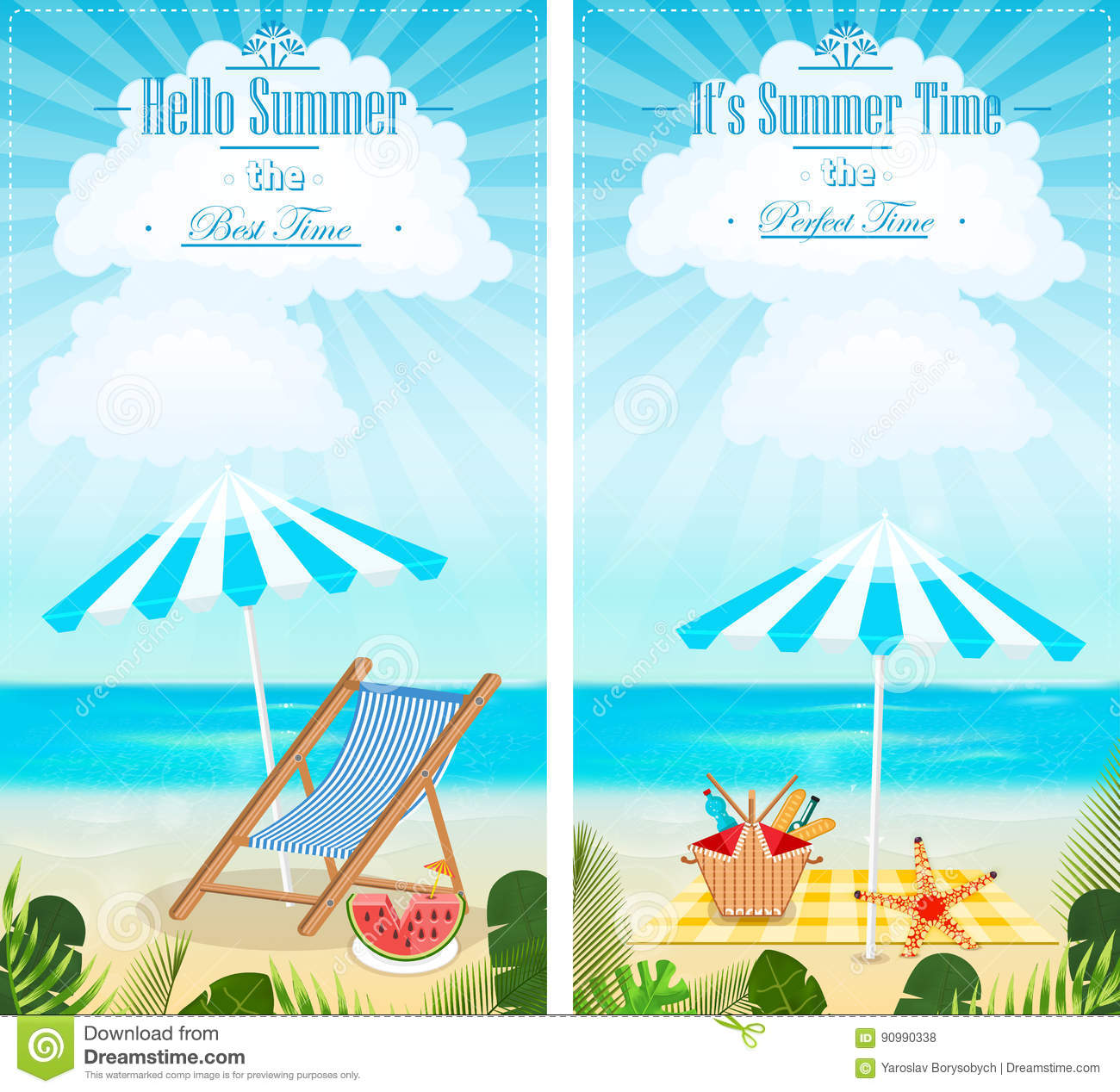 Set of summer vacation seascapes vertical banners vector