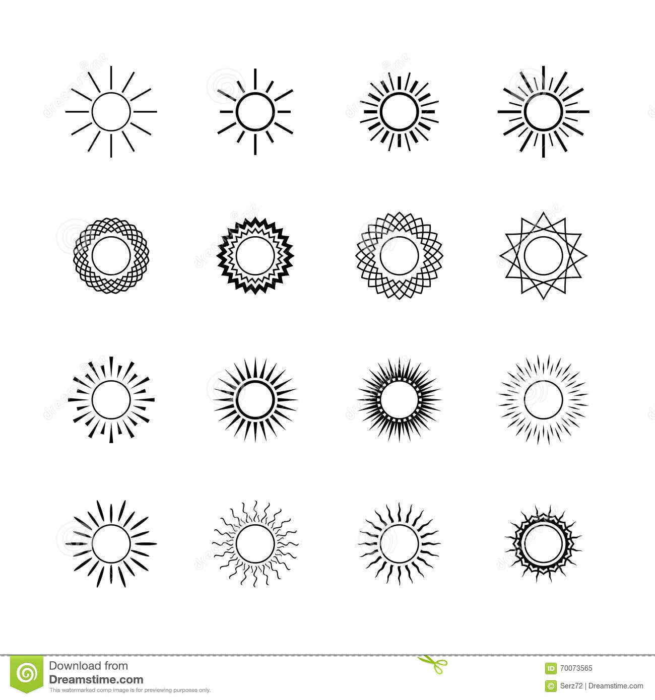 Line Drawing Setting Sun : Set of sun icons line style design stock vector image