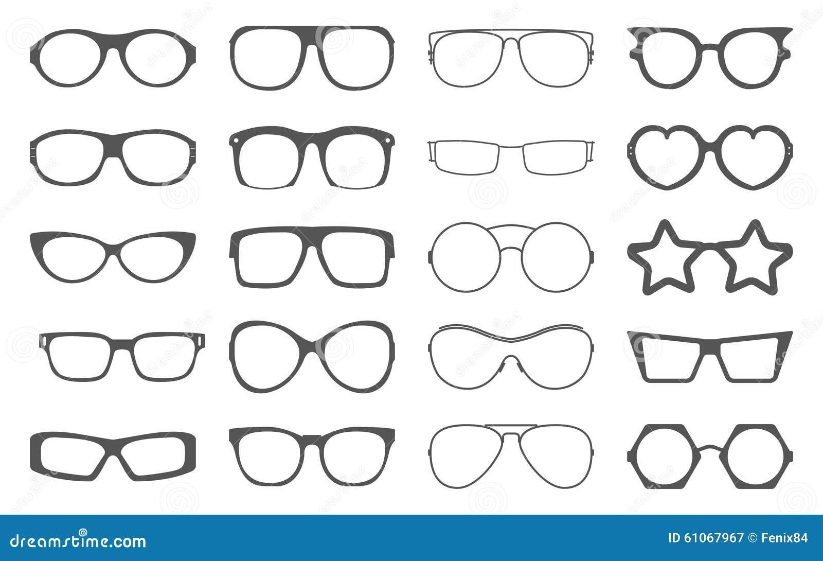Set Of Sunglasses Frames Isolated On White. Stock Vector ...
