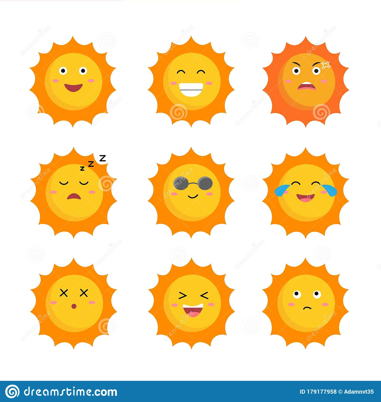 Set Of The Suns Cute Suns Yellow Faces Emoji Summer Emoticons Vector Illustration Isoalted On White Background Stock Vector Illustration Of Graphic Love 179177958