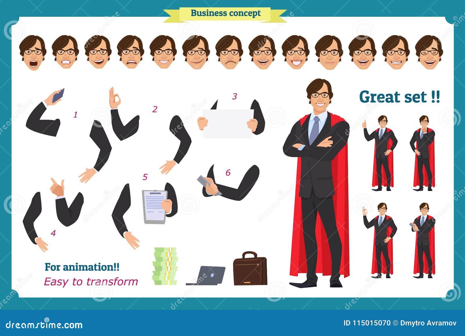 Set super biznesmena charakteru mężczyzna w kostiumu, stoi