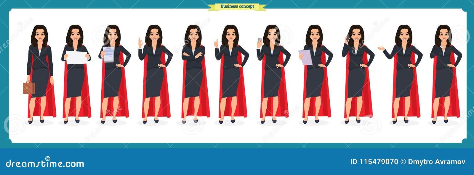 Set super bizneswomanu charakteru projekt z różnymi pozami Ilustracja odizolowywający wektor na bielu w płaskim kreskówka stylu