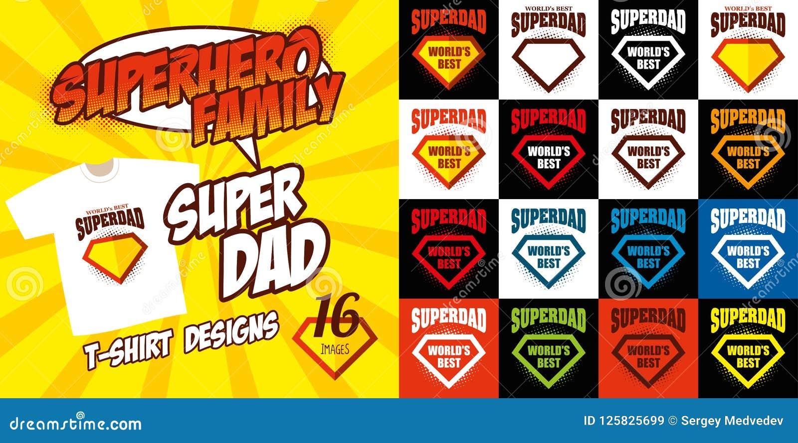 Set Super Dad Logo Superhero T Shirt Design Stock Vector