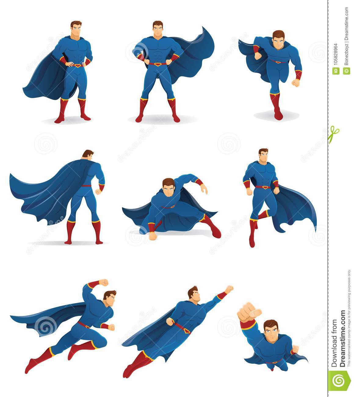 superhero in action stock vector illustration of hovering 105828964