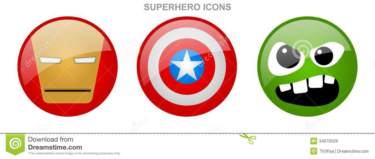 Set Of Superhero Icons Royalty Free Stock Images - Image: 34670529