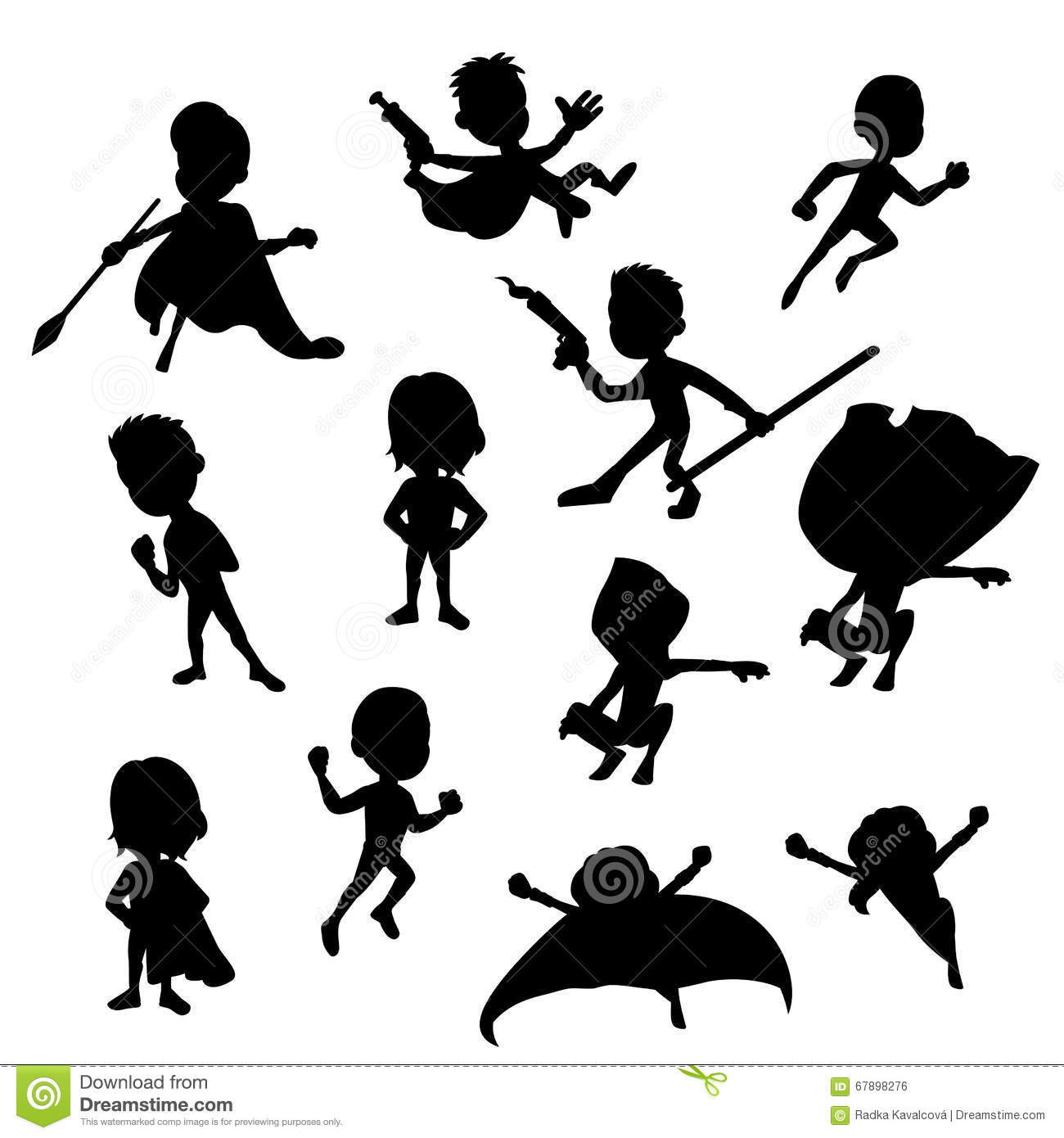 Two Silhouttes Of Girl With Flower Pattern. Vector ...