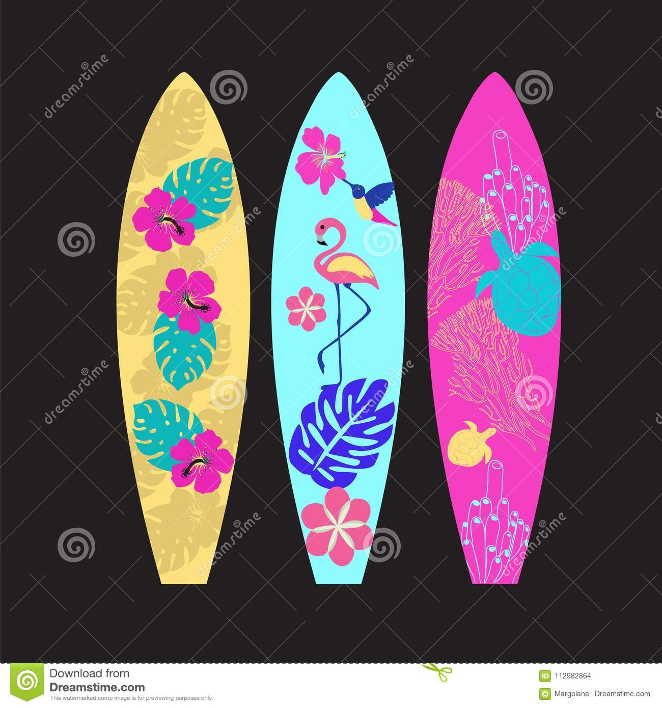 Set of Surfboards isolated on black background.
