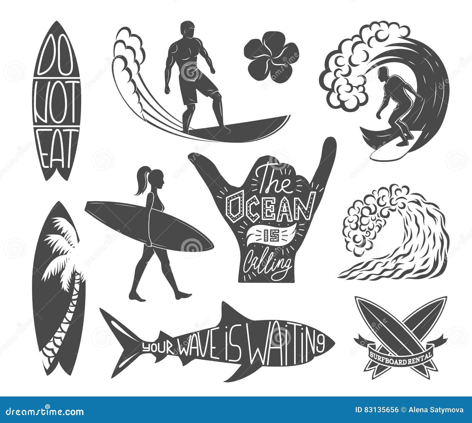 Set of surfing vintage design elements. Surf logo vector illustration. Surfboard logotypes. Retro style