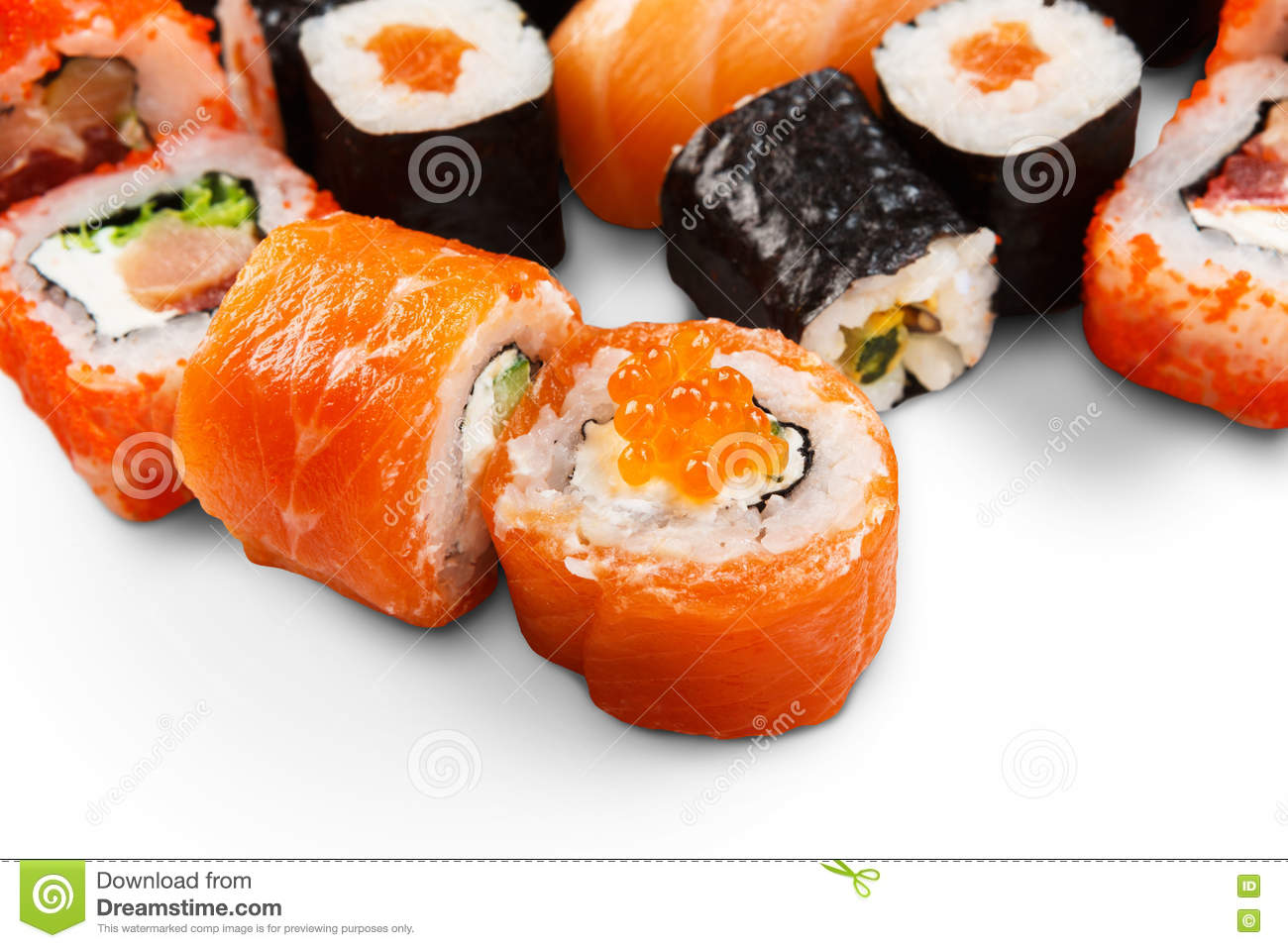 Set of sushi maki and rolls isolated at white stock for Asian cuisine delivery