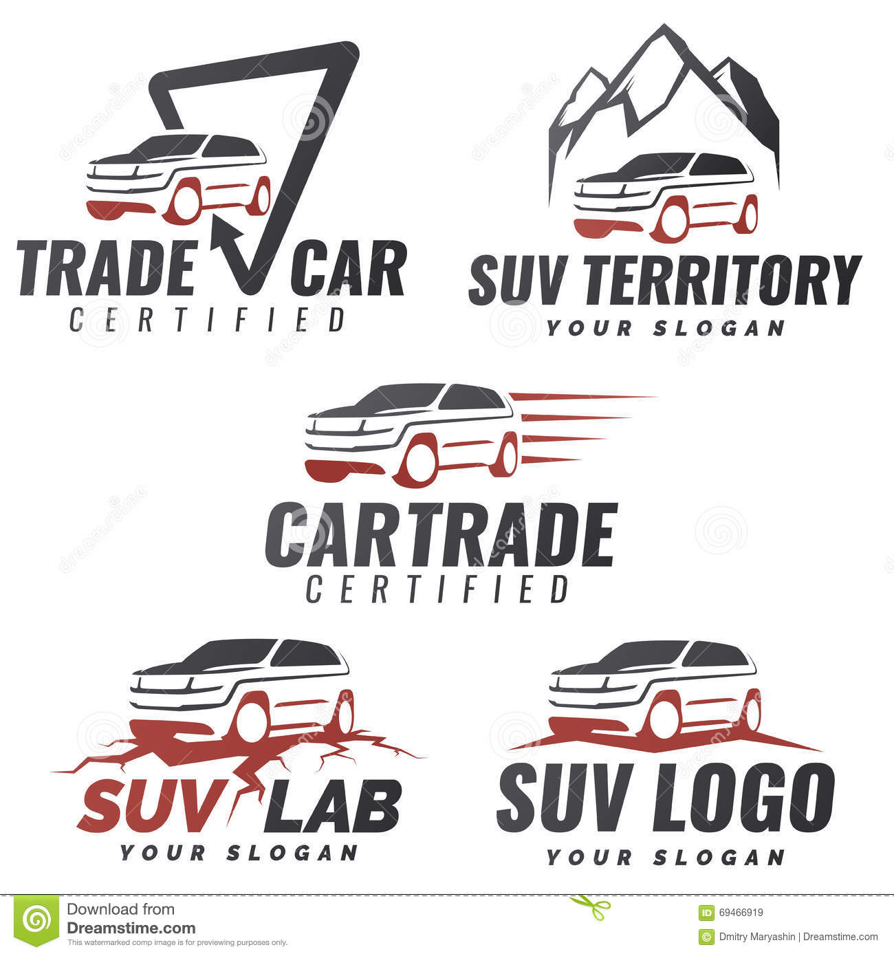 Set Of Suv Car Service Logo Templates Stock Vector Image