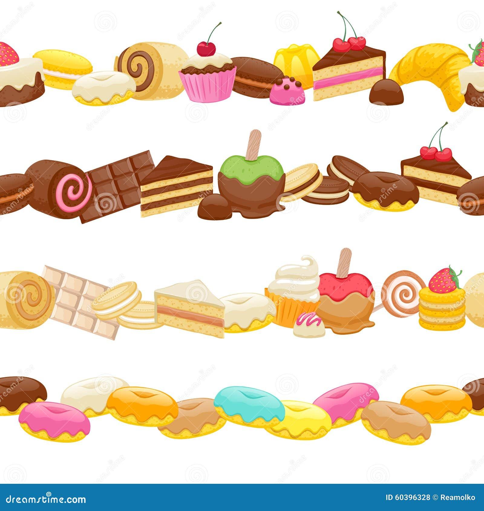 set of sweet food seamless horizontal borders stock vector rh dreamstime com food and drink clipart borders food clip art borders free
