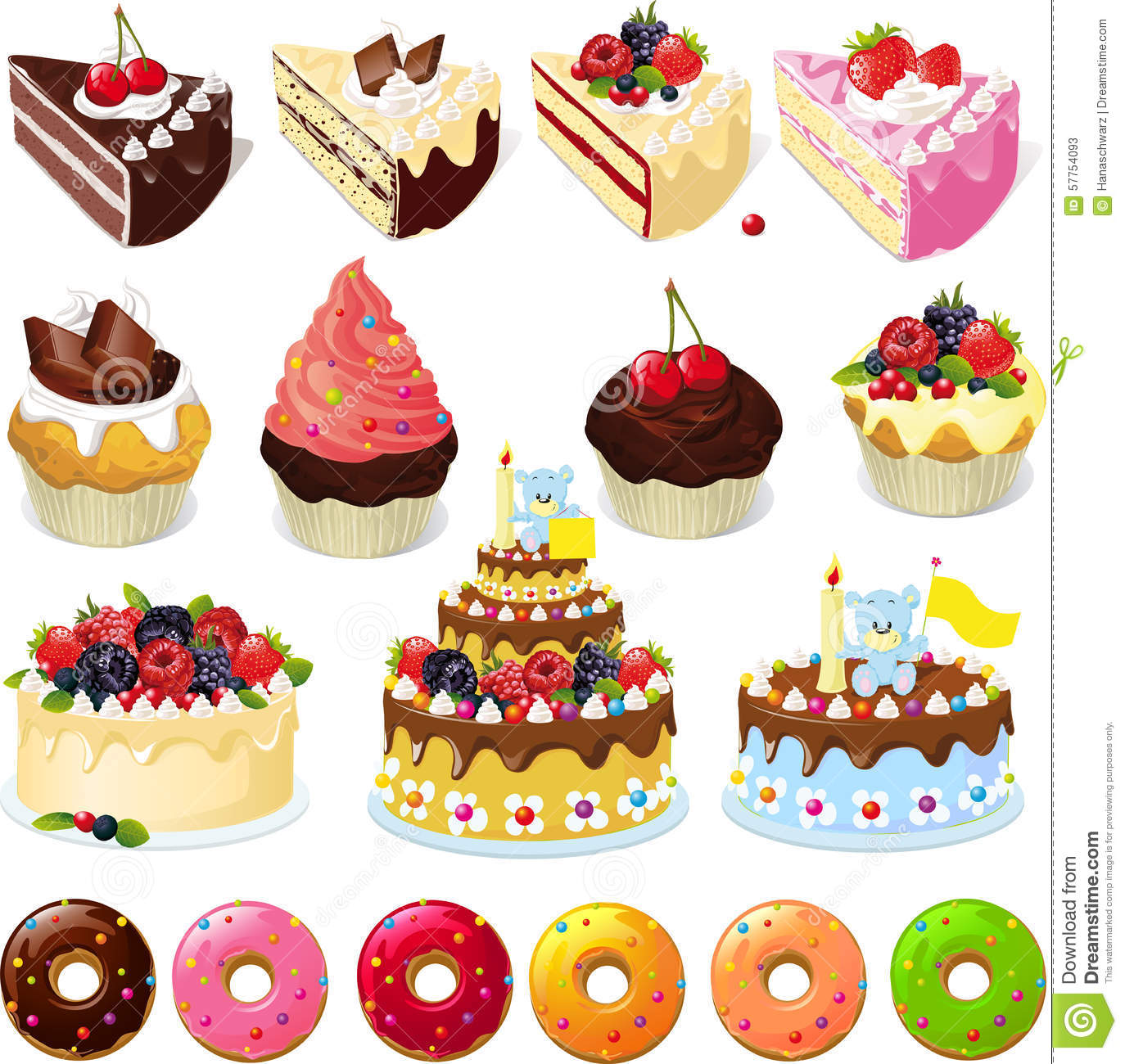 Cake Images Sweets : Set Of Sweets And Cakes - Vector Illustration Stock Vector ...