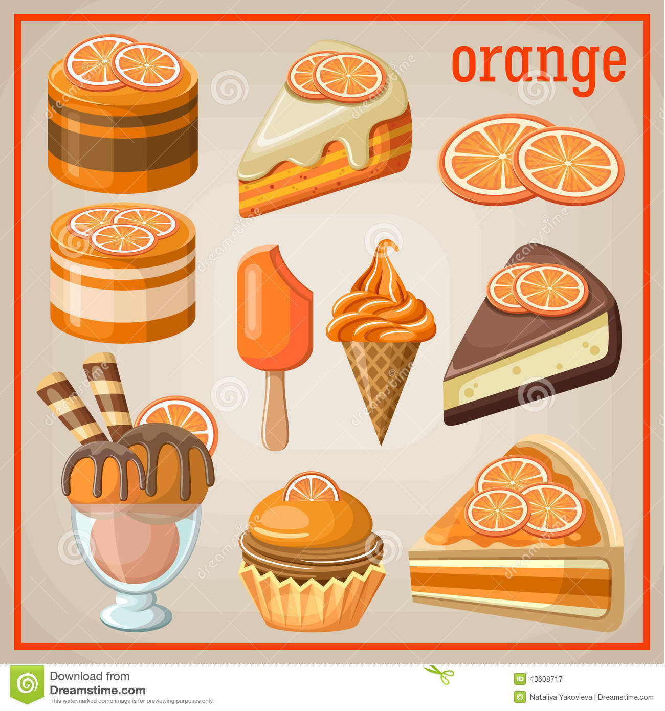 Set Of Sweets With An Orange Stock Vector Image 43608717