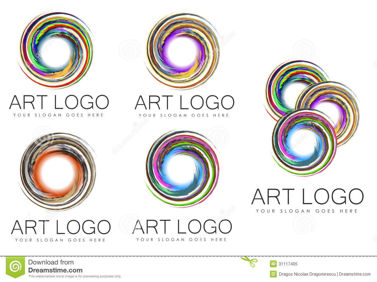 Set Of Swirl Art Logo Designs Stock Illustration Image