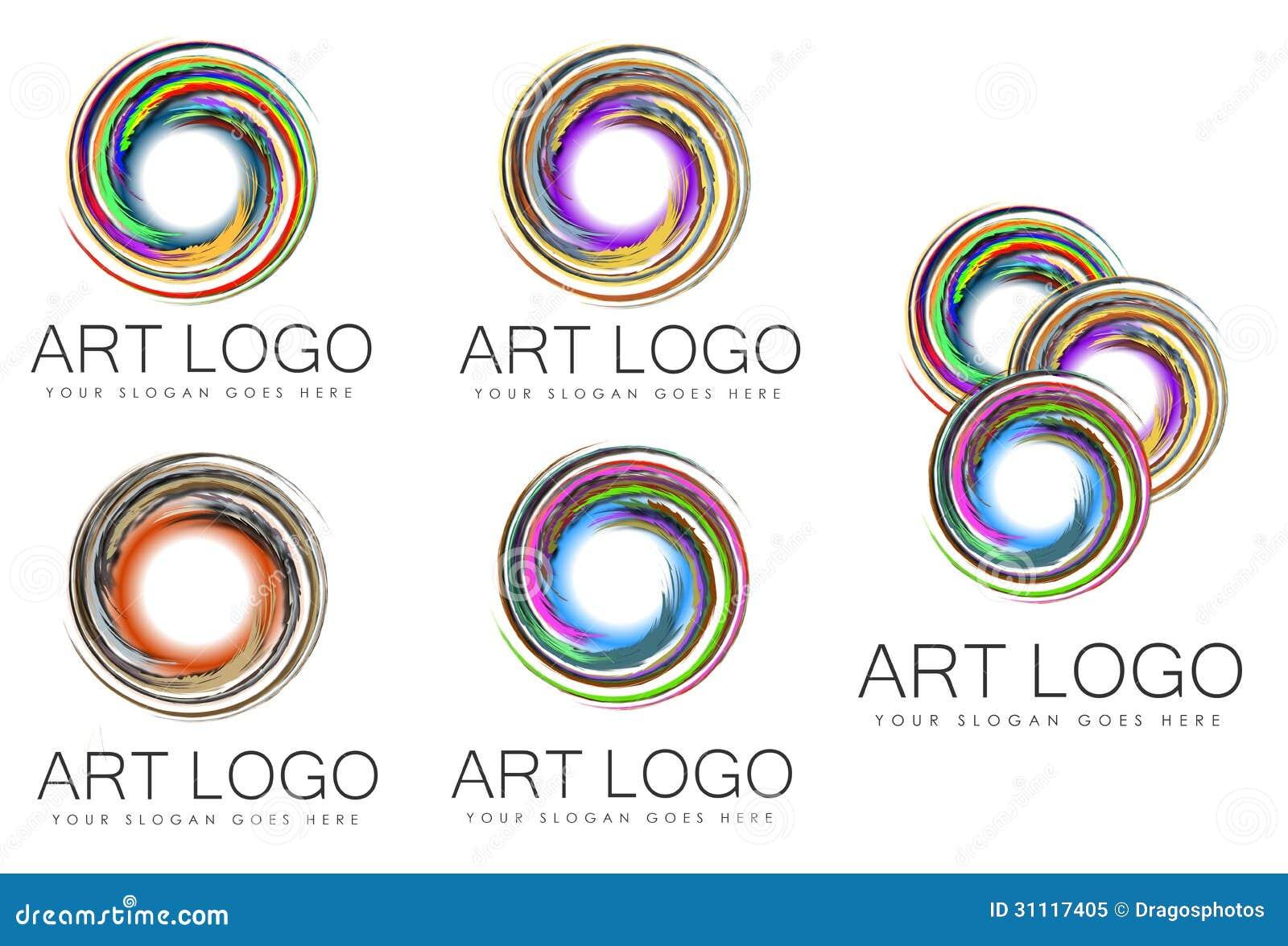 Set of swirl art logo designs stock illustration image for Painting and decorating logo ideas