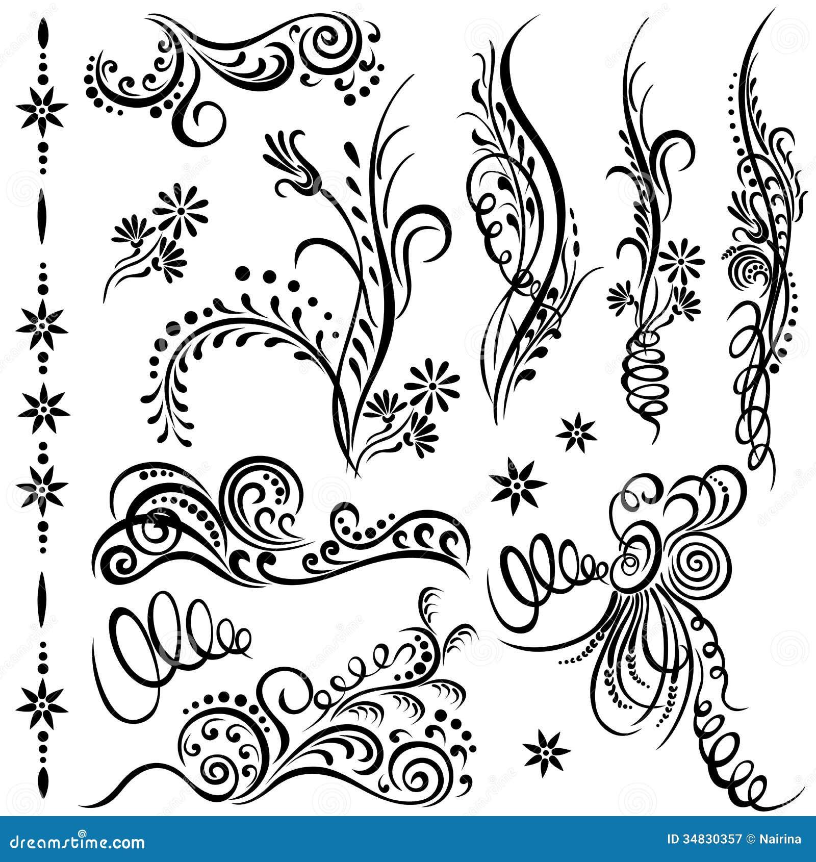 Set swirling decorative elements