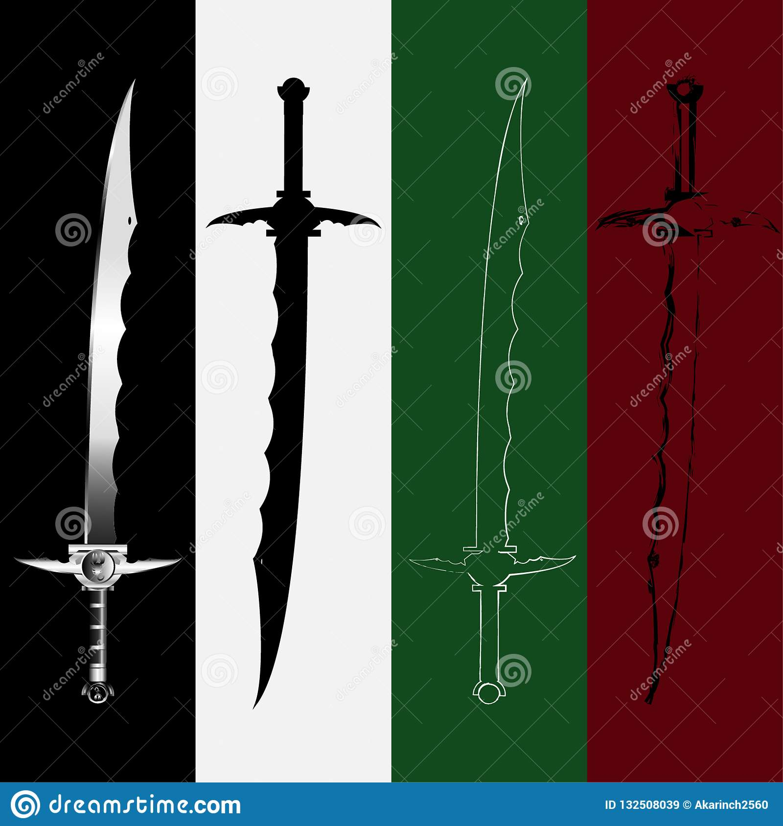 Set Of Sword , Military Sword Ancient Weapon Design, Weapon