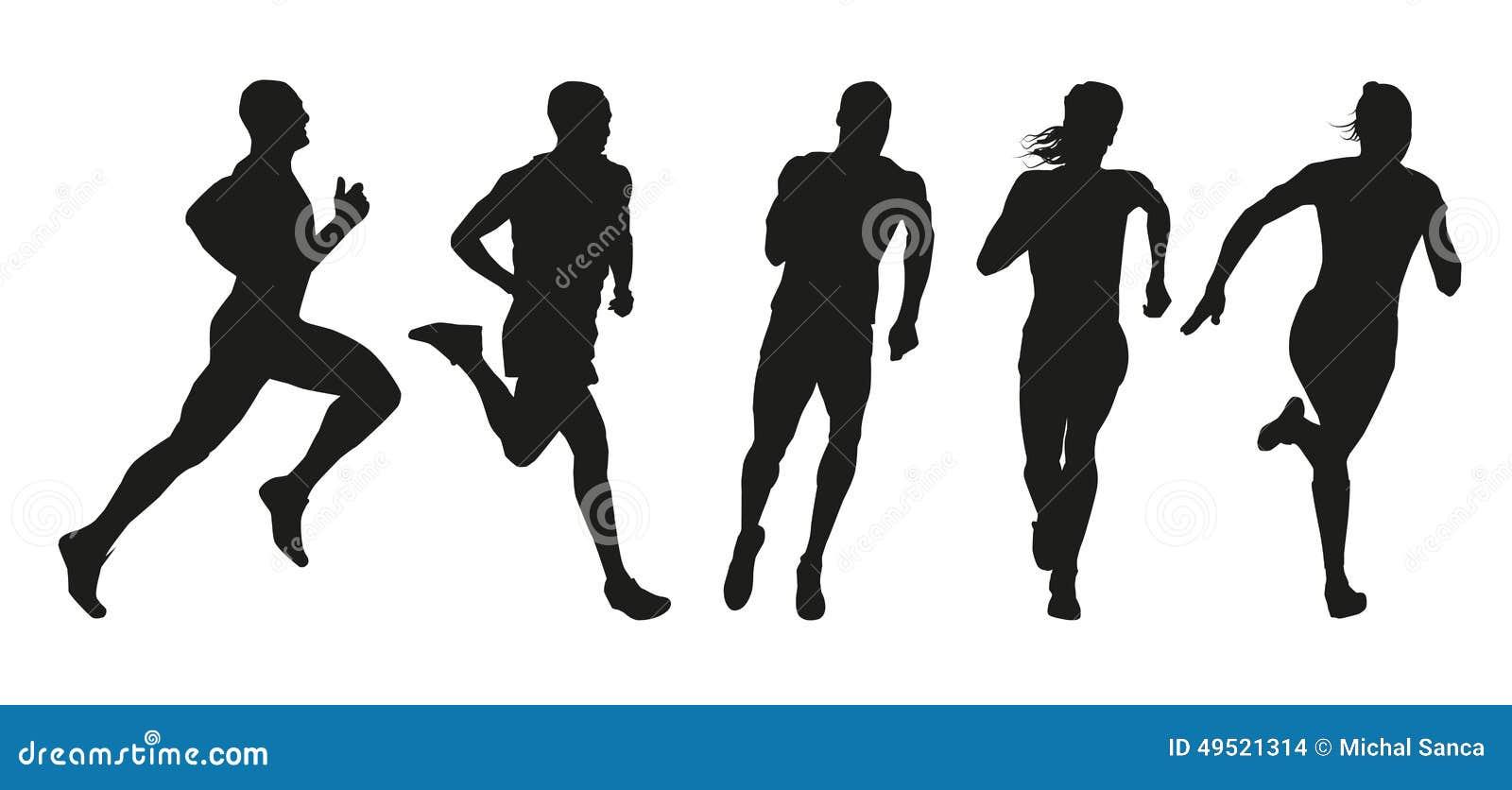 Set sylwetki biegacze