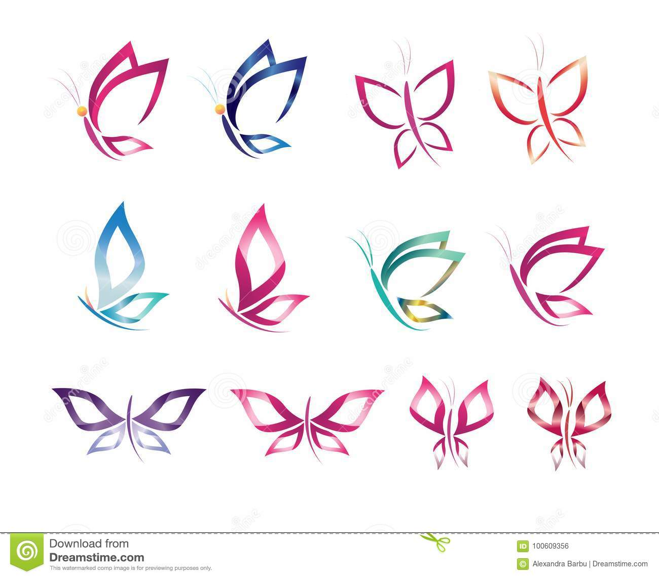 Set symbol icon design vector butterfly, logo, beauty, spa, lifestyle, care, relax, abstract, wings