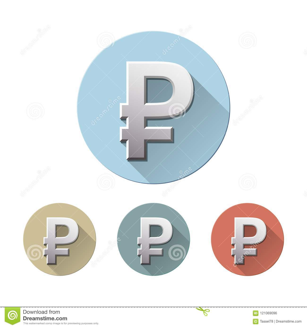 Set Of Symbol Of Russian Ruble Stock Vector Illustration Of