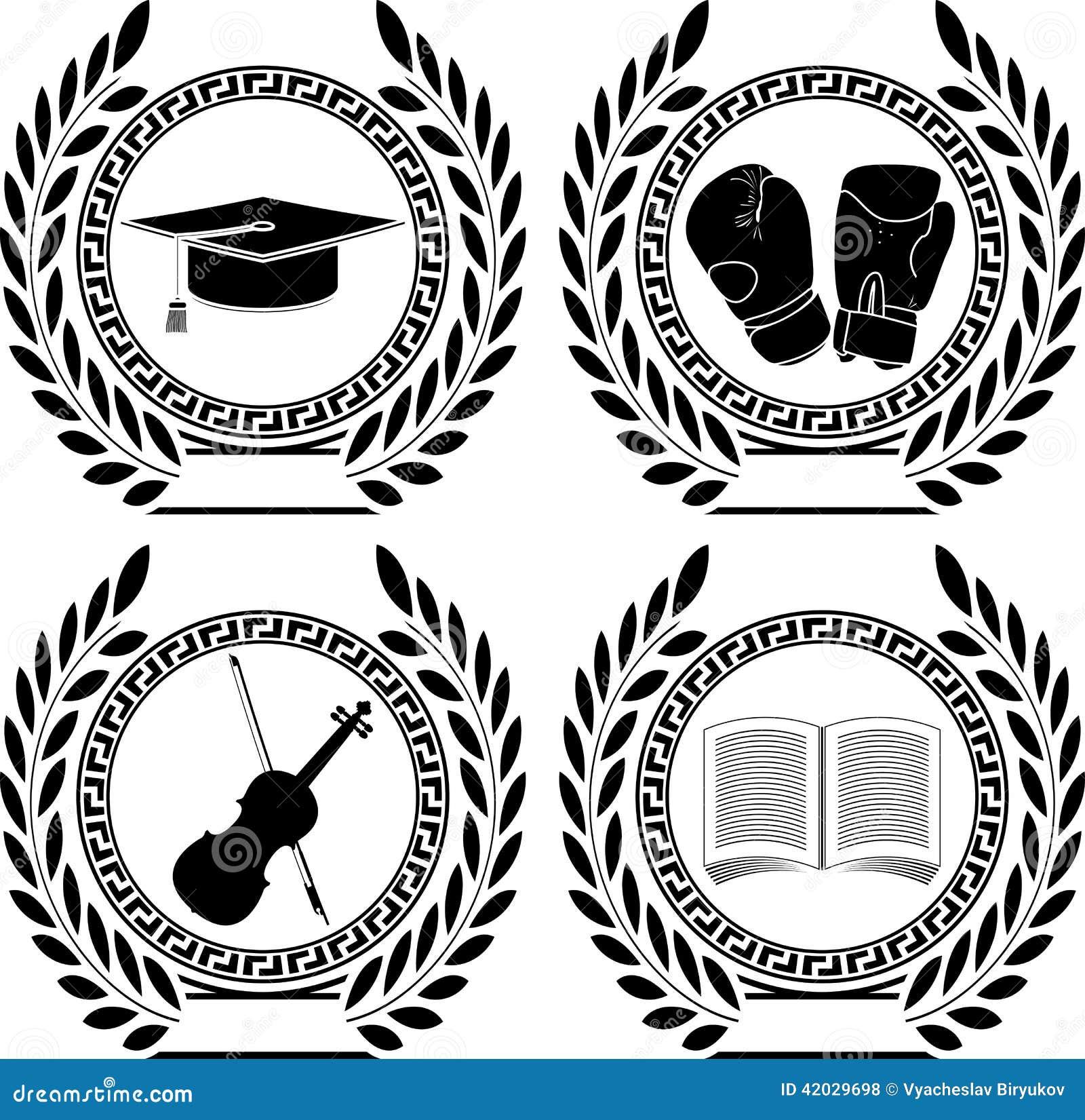 Set Of Symbols Of Achievement Stock Vector Illustration Of Glory
