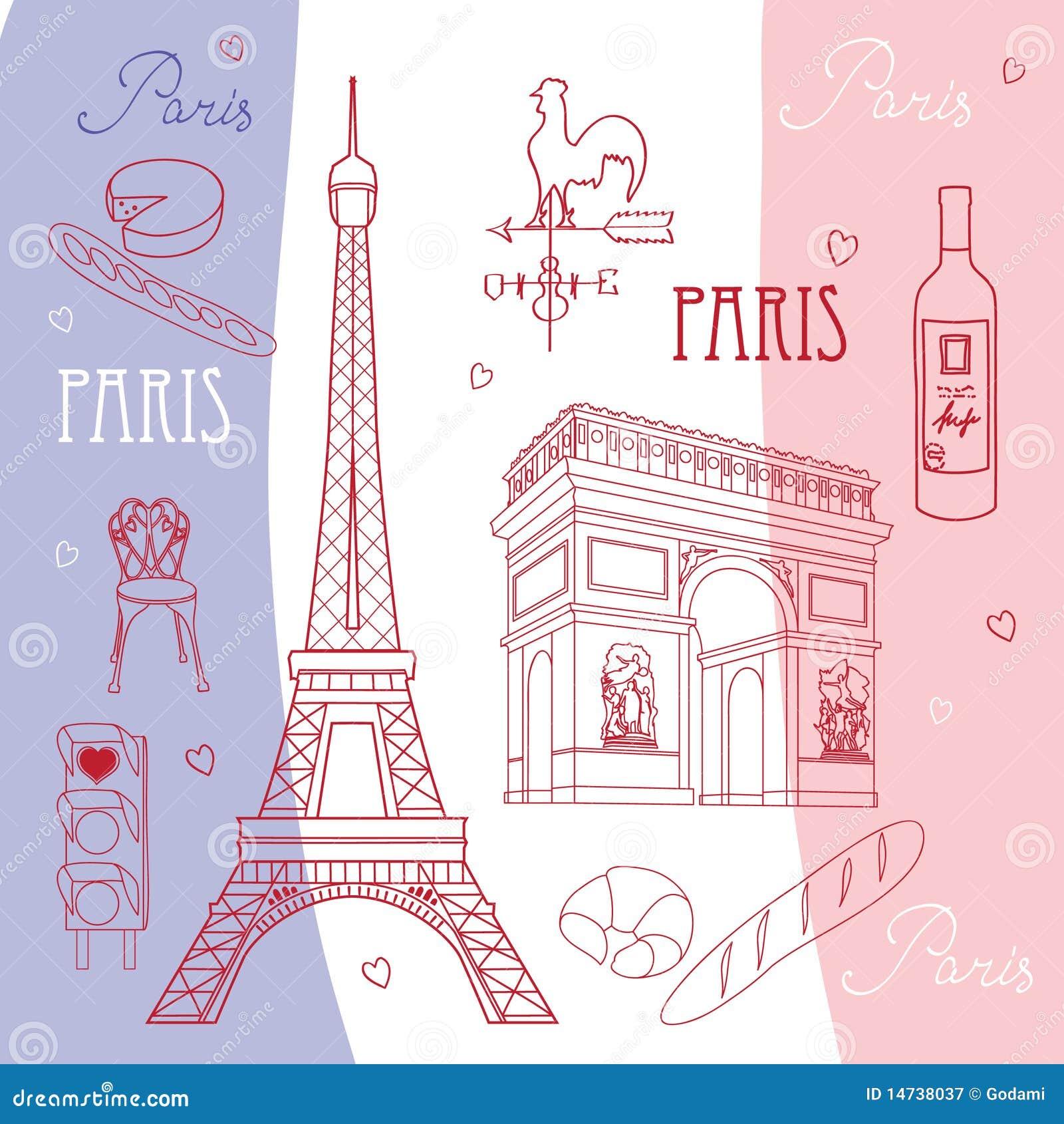 Set of symbols of paris stock vector illustration of decorating set of symbols of paris buycottarizona