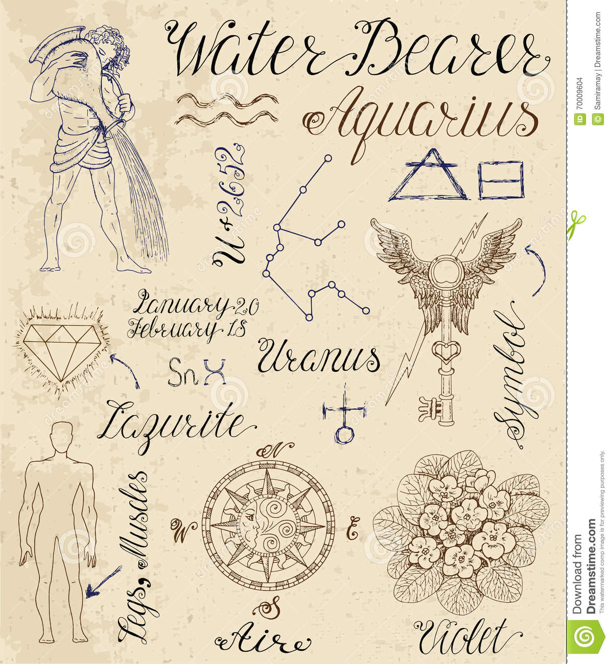 Set of symbols for zodiac sign aquarius or water bearer stock set of symbols for zodiac sign aquarius or water bearer biocorpaavc Choice Image