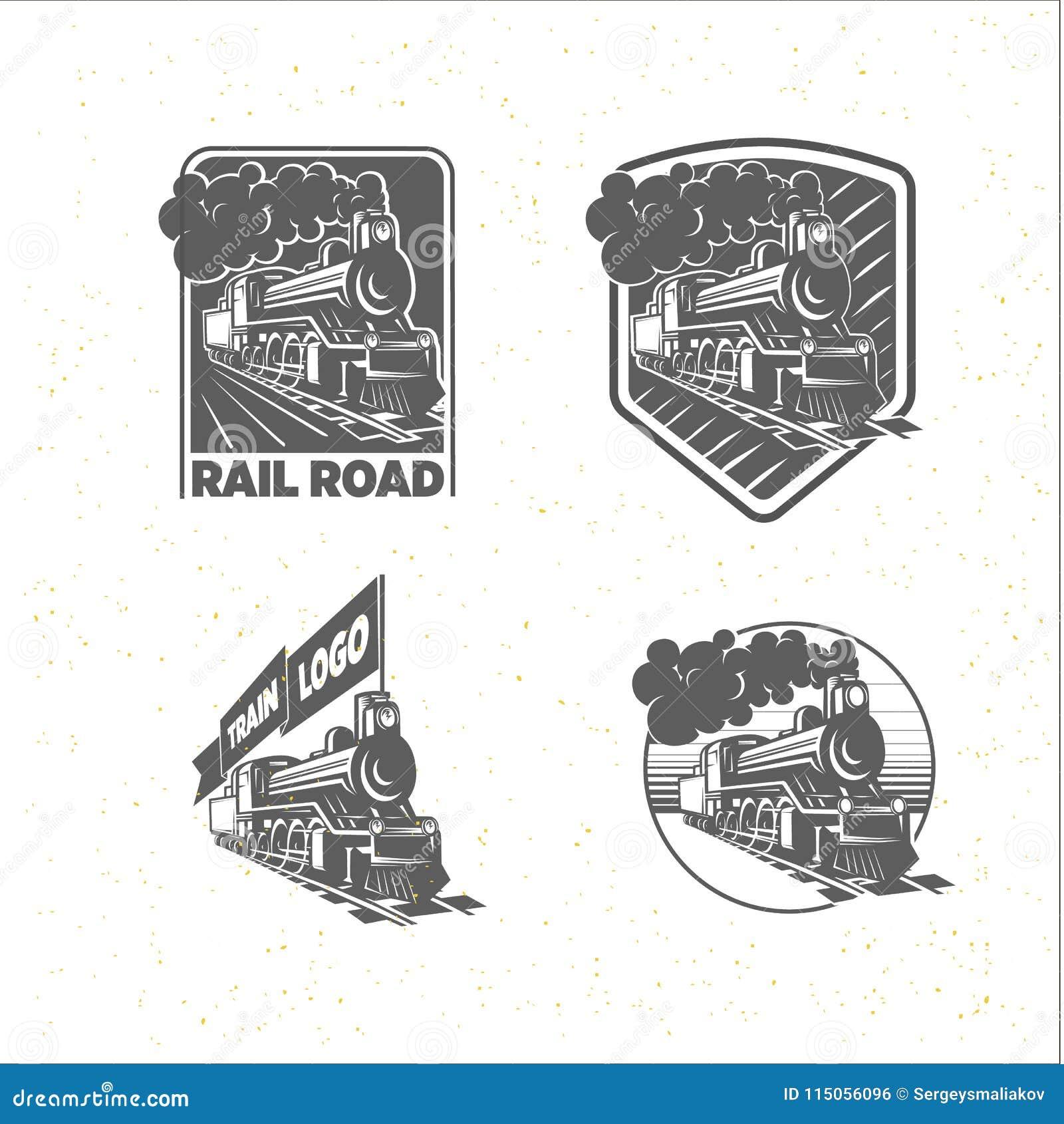 Set szablony z lokomotywą Rocznika pociąg, logotypy, ilustracje