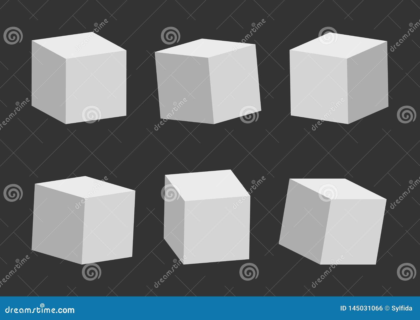 Set szarzy sze?ciany, 3D model, inna perspektywa i k?t, r?wnie? zwr?ci? corel ilustracji wektora