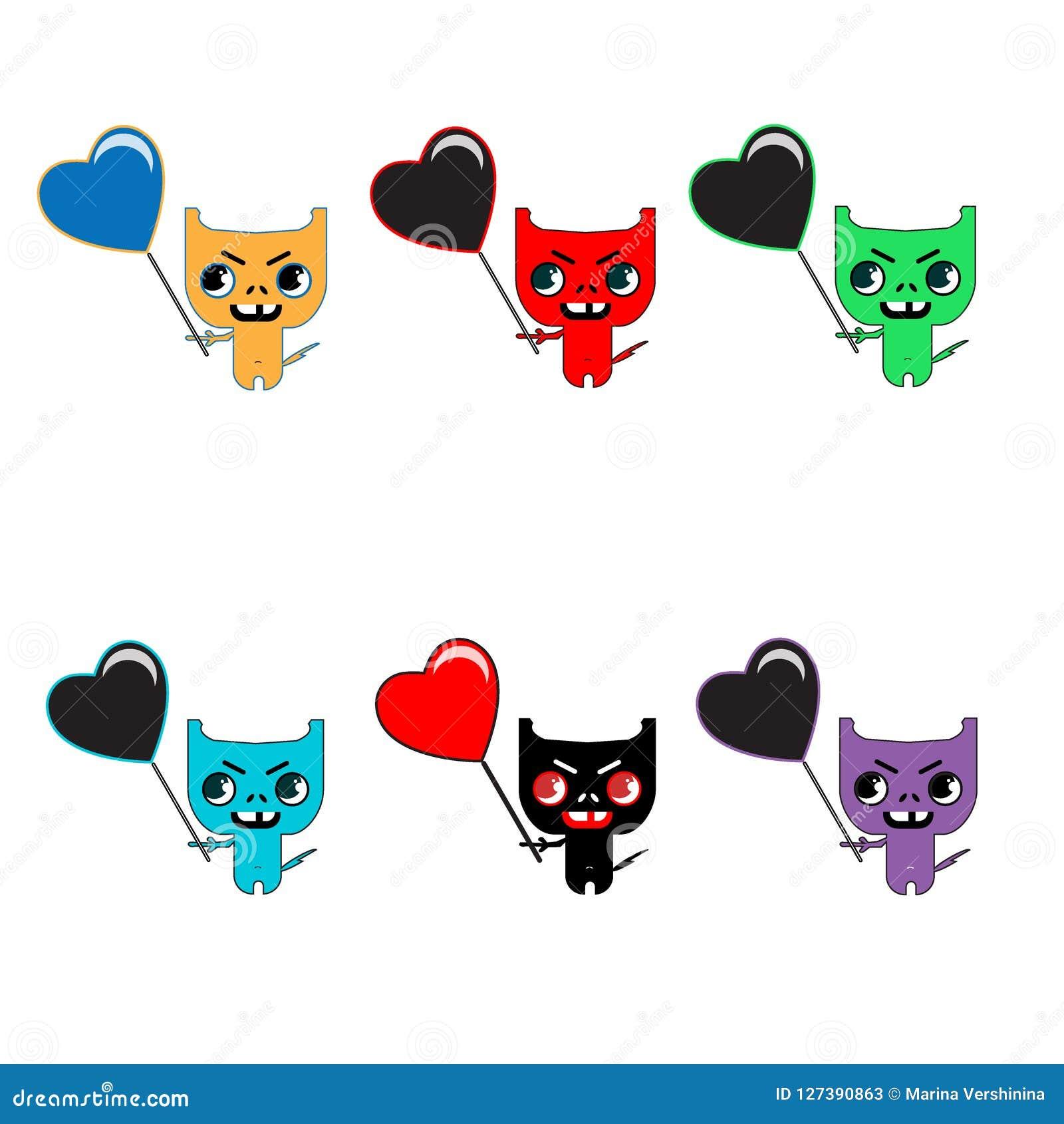 Set sześć ślicznych kolorów potworów