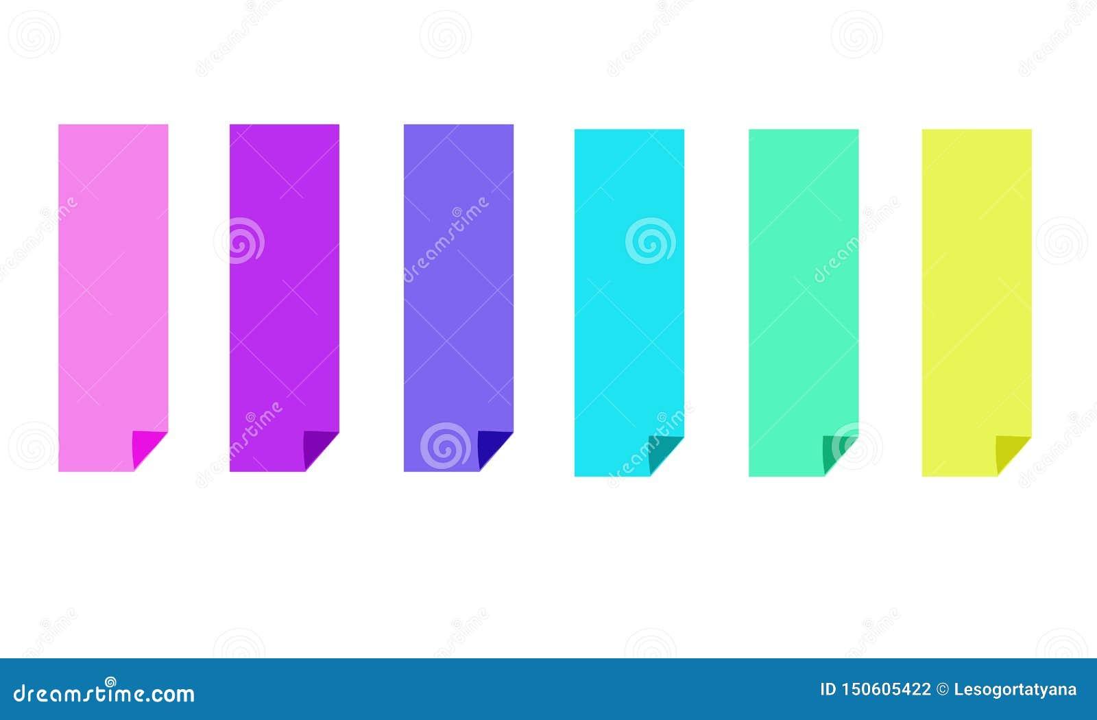 Set sześć kolorowych jaskrawych sztandarów