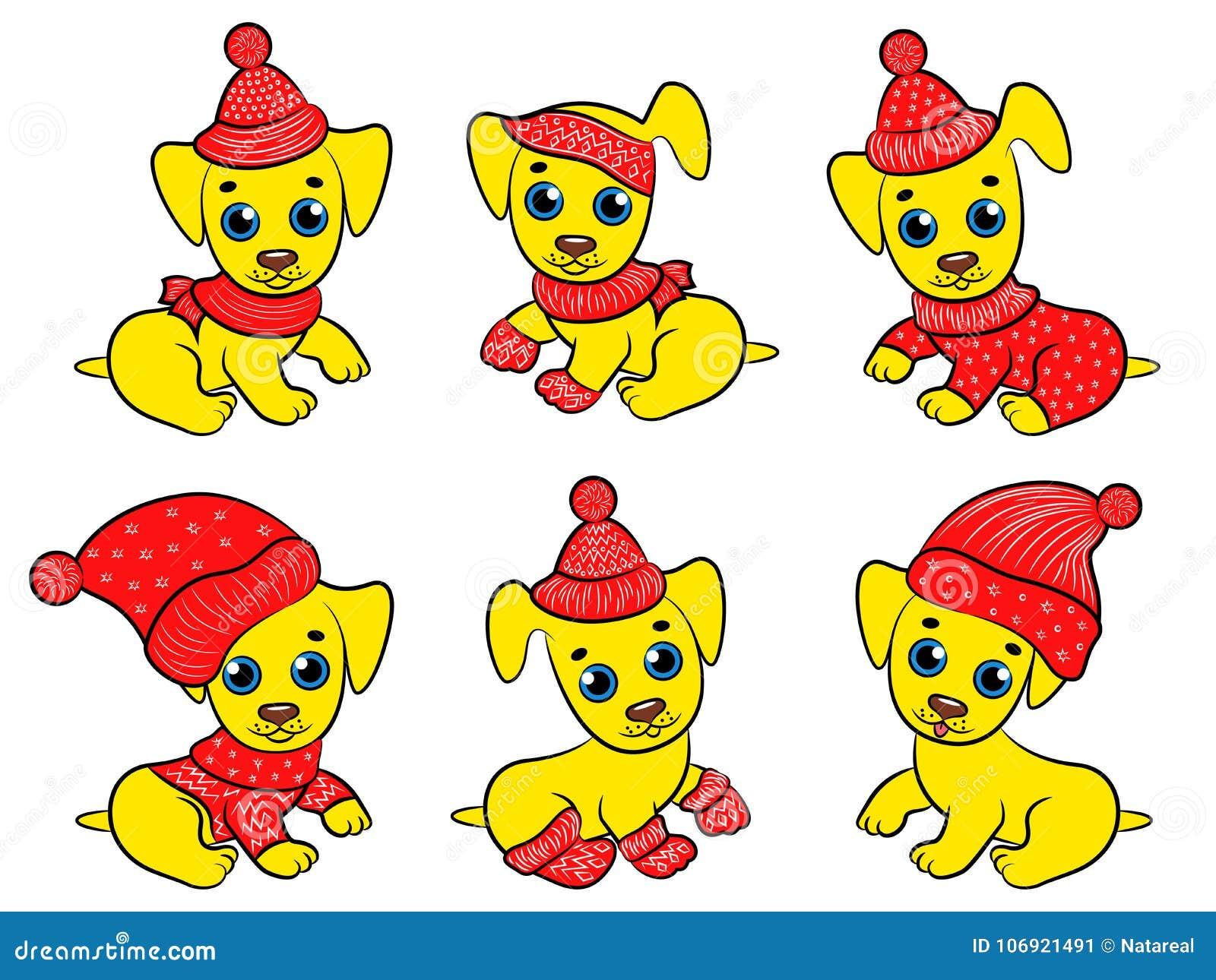 Set sześć pociesznych koloru żółtego Xmas psów