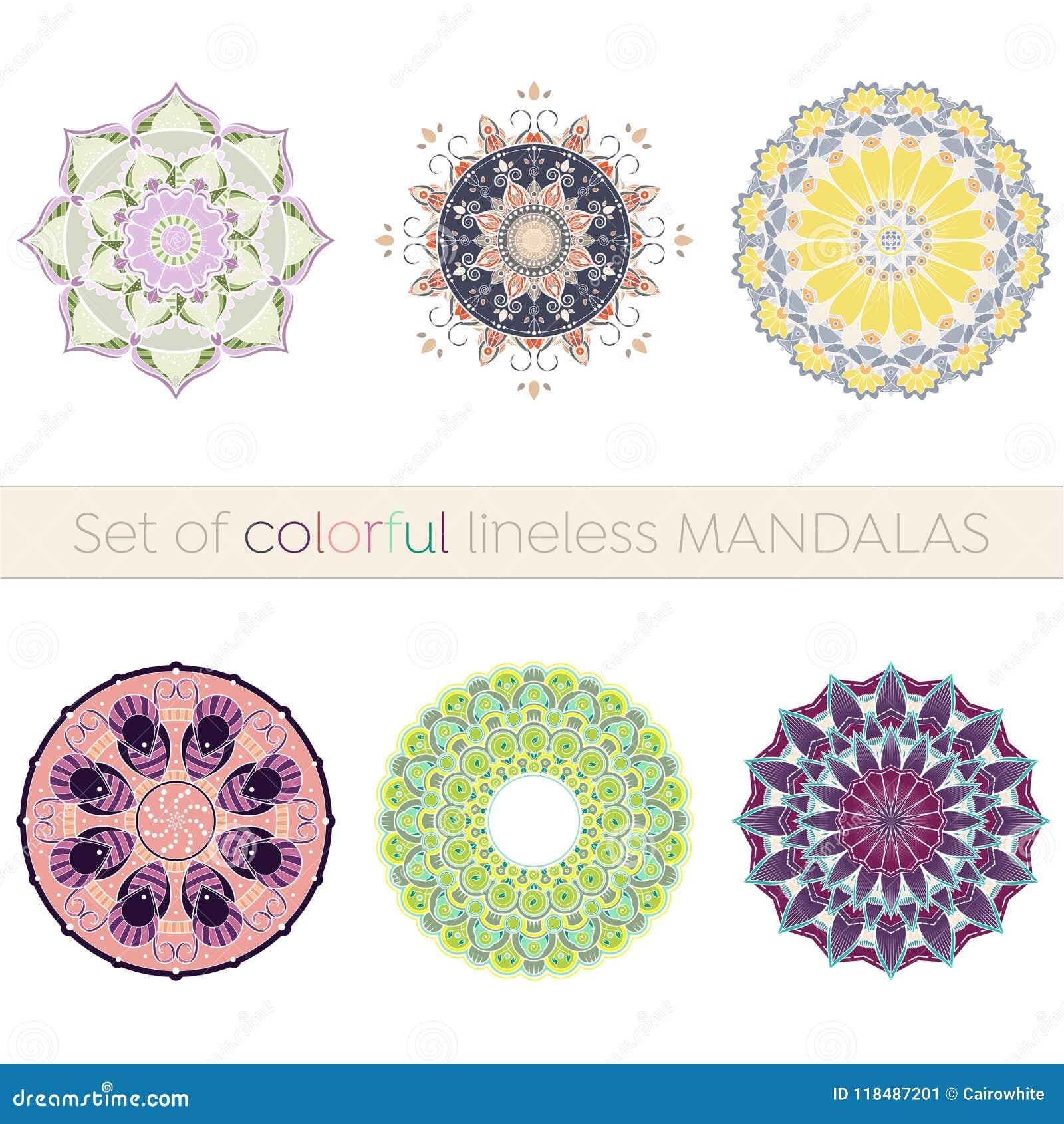 Set sześć w zawiły sposób lineless kolorowych mandalas