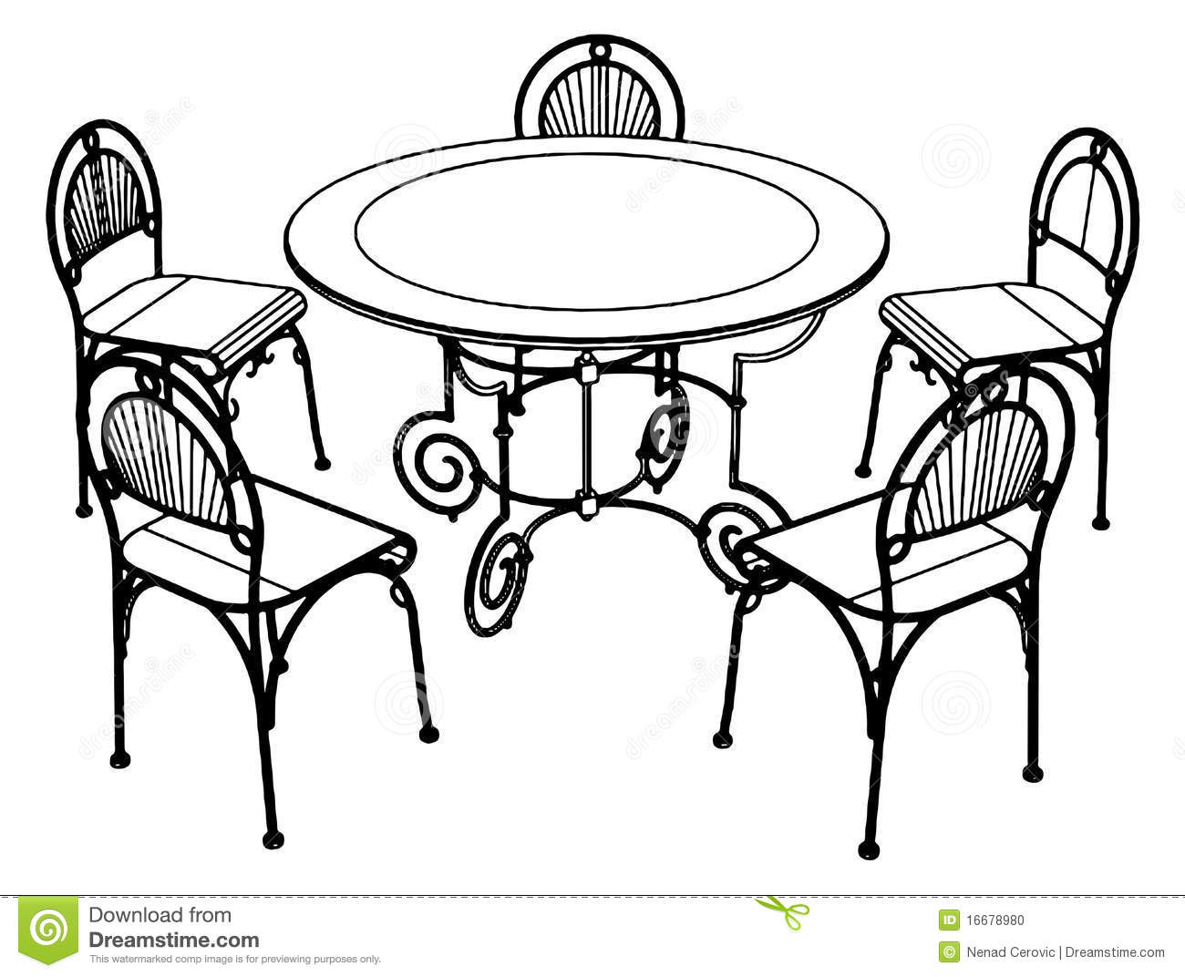 Set Table And Chairs Vector 02 Stock Photo Image 16678980