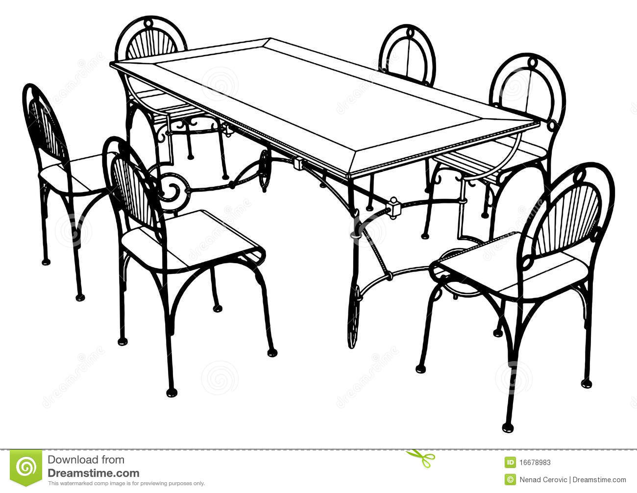 Download Set Table And Chairs Vector 03 Stock Vector   Illustration Of Chair,  Illustration: