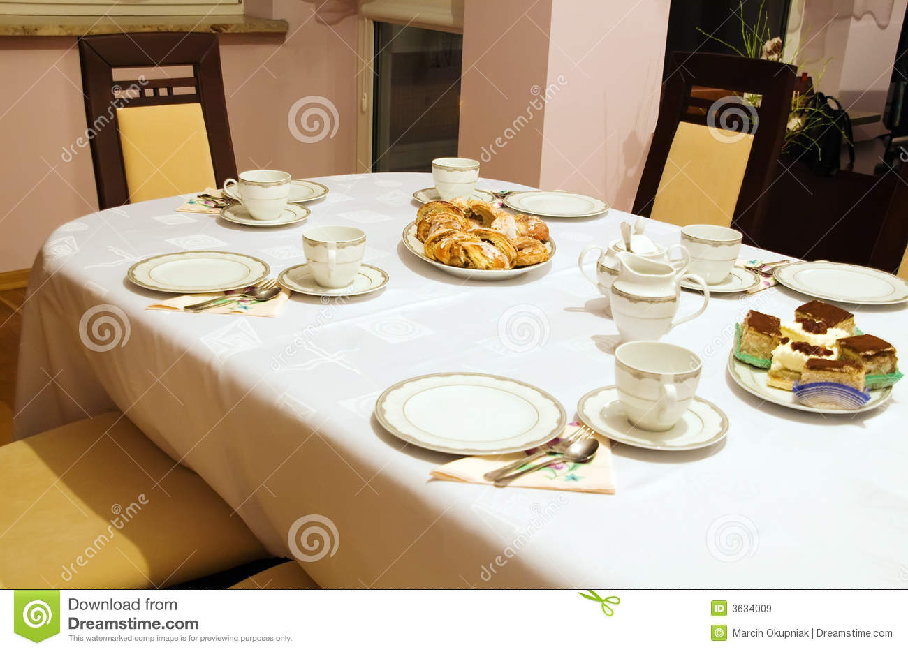 Set Table For Tea And Coffee Time Royalty Free Stock