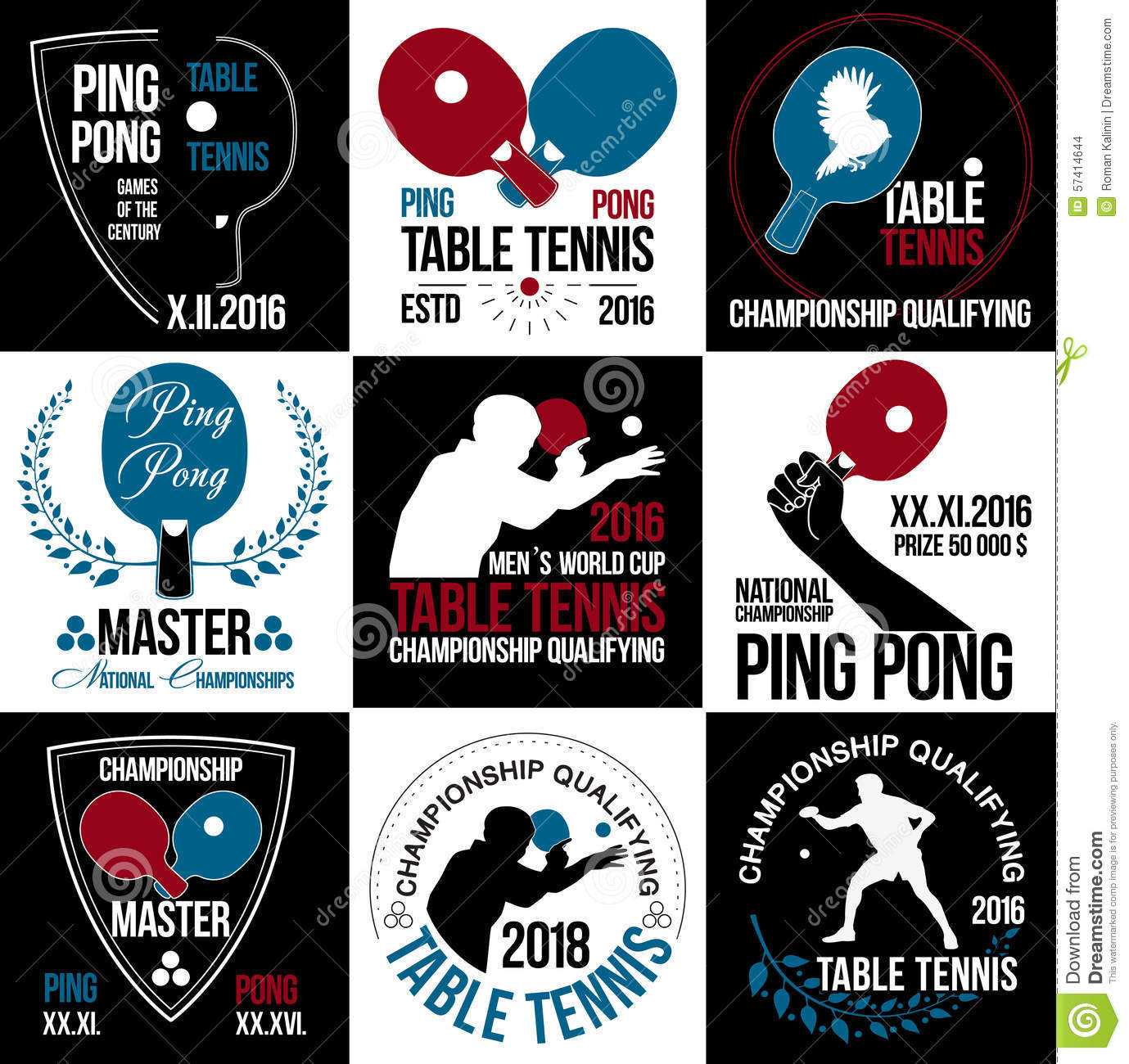 Set Of Table Tennis Logos Labels And Badges Stock Vector