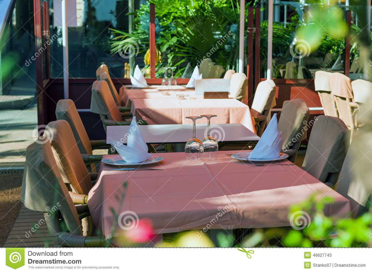 Set Tables At Outside Dining Area