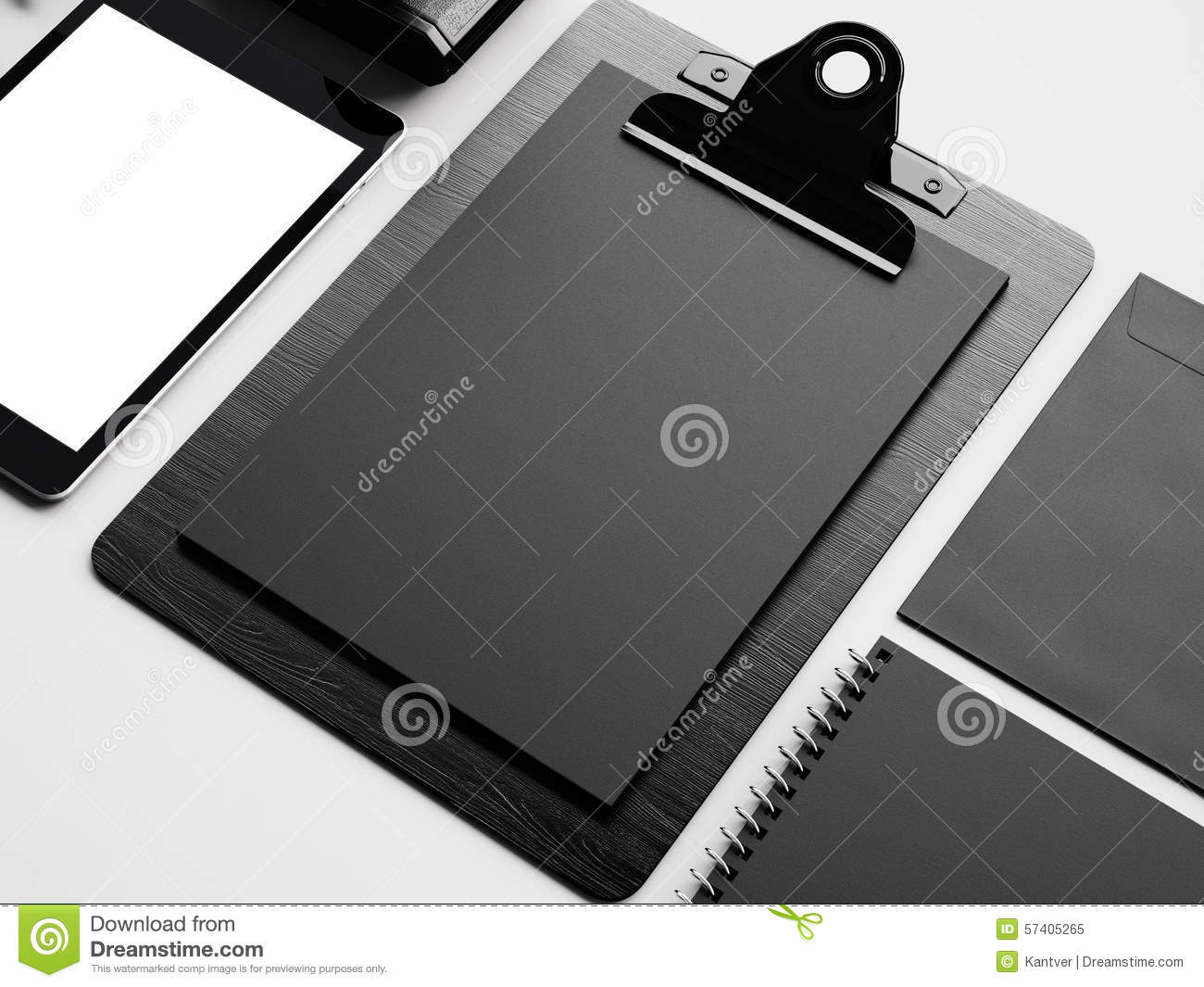 set of tablet desk and evenlope 3d render stock image image of