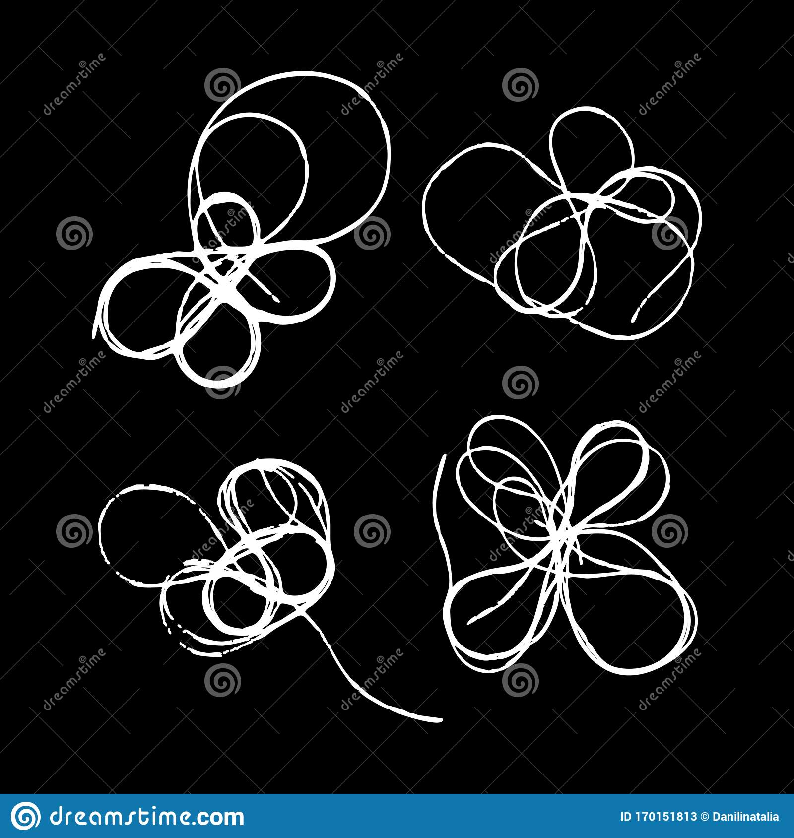 Set Of Tangled Threads Thread Scribble Petals Flower Spot Outline Abstract Sketch Chaotic Doodle Shapes Eps 10 Stock Vector Illustration Of Chaotic Grunge 170151813