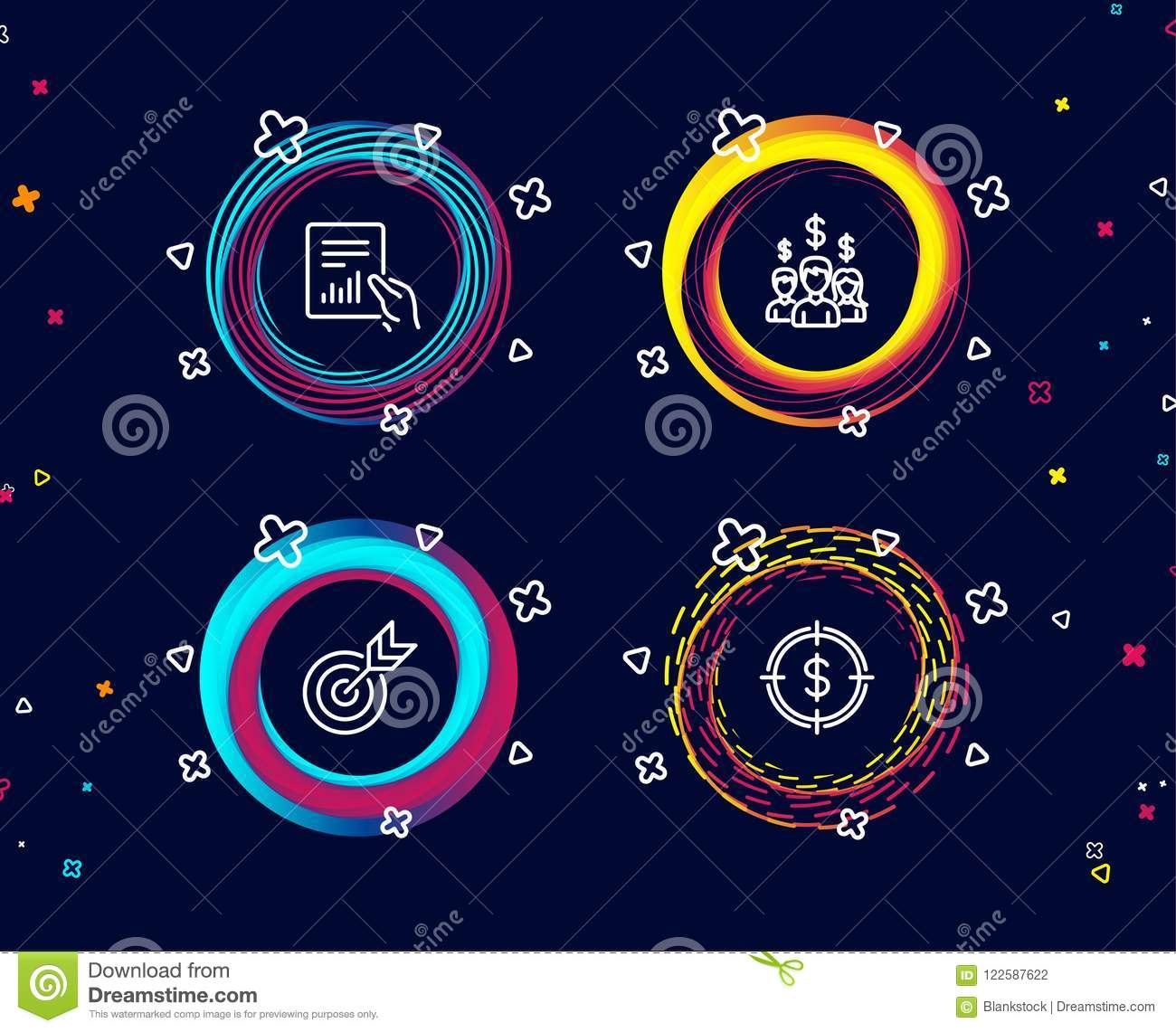 set target document salary employees icons dollar sign targeting file diagram people earnings aim usd circle banners 122587622 target, document and salary employees icons dollar target sign