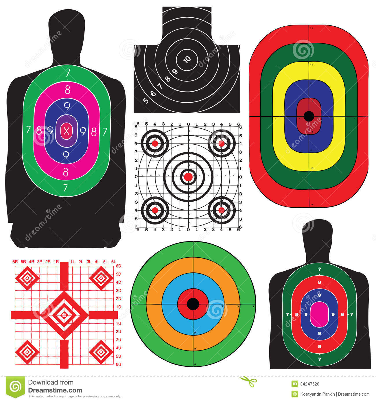 Professional set targets for training vector illustration